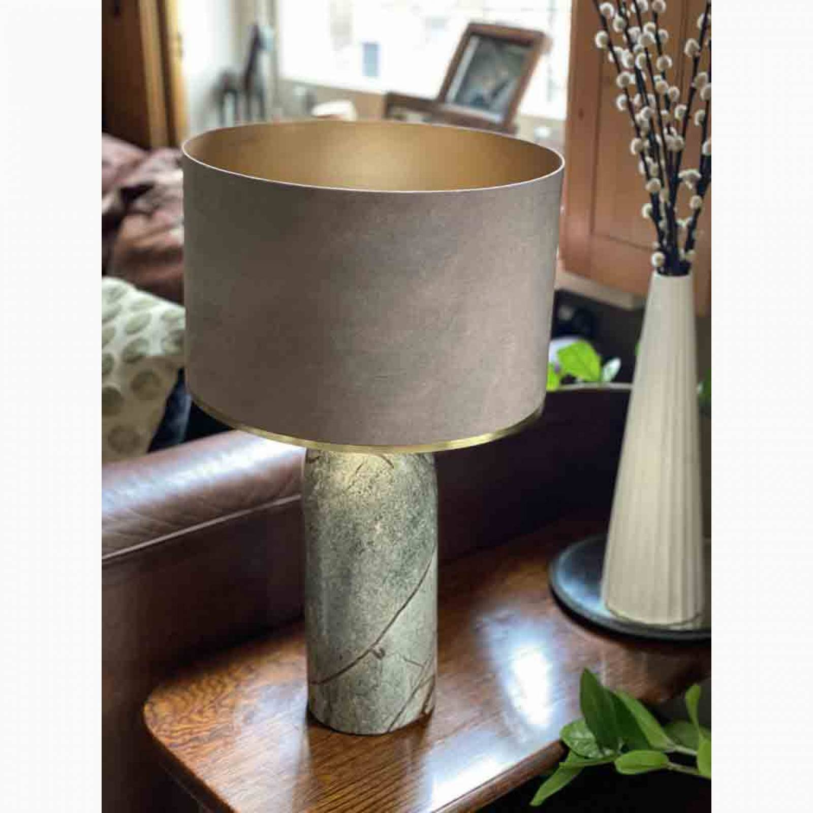 Asta Marble Lamp In Forest Green With Sitta Taupe Shade thumbnails