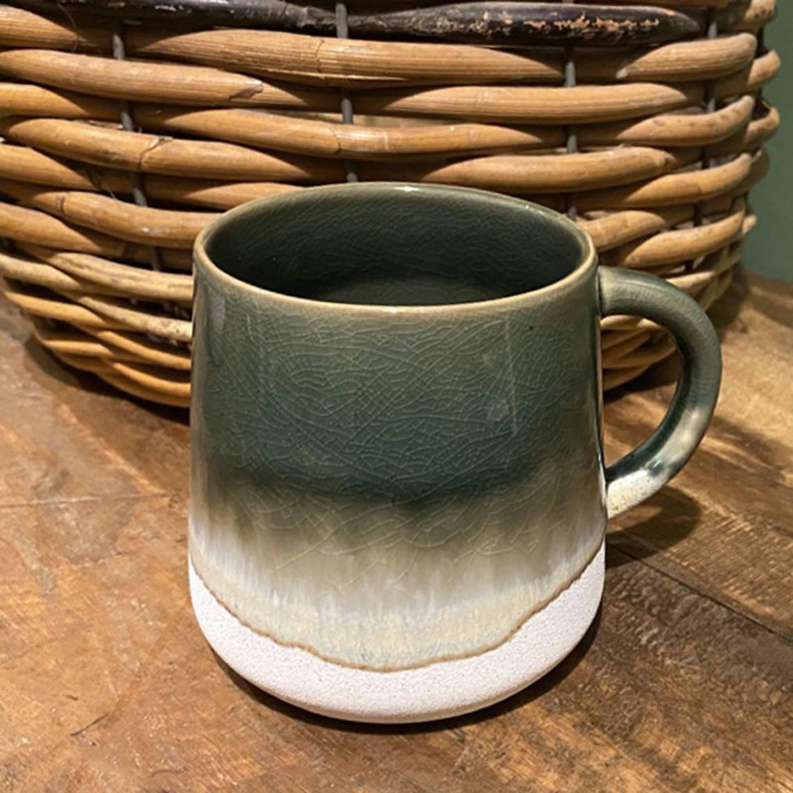 Two Tone Dip Glazed Stoneware Mug In Green thumbnails