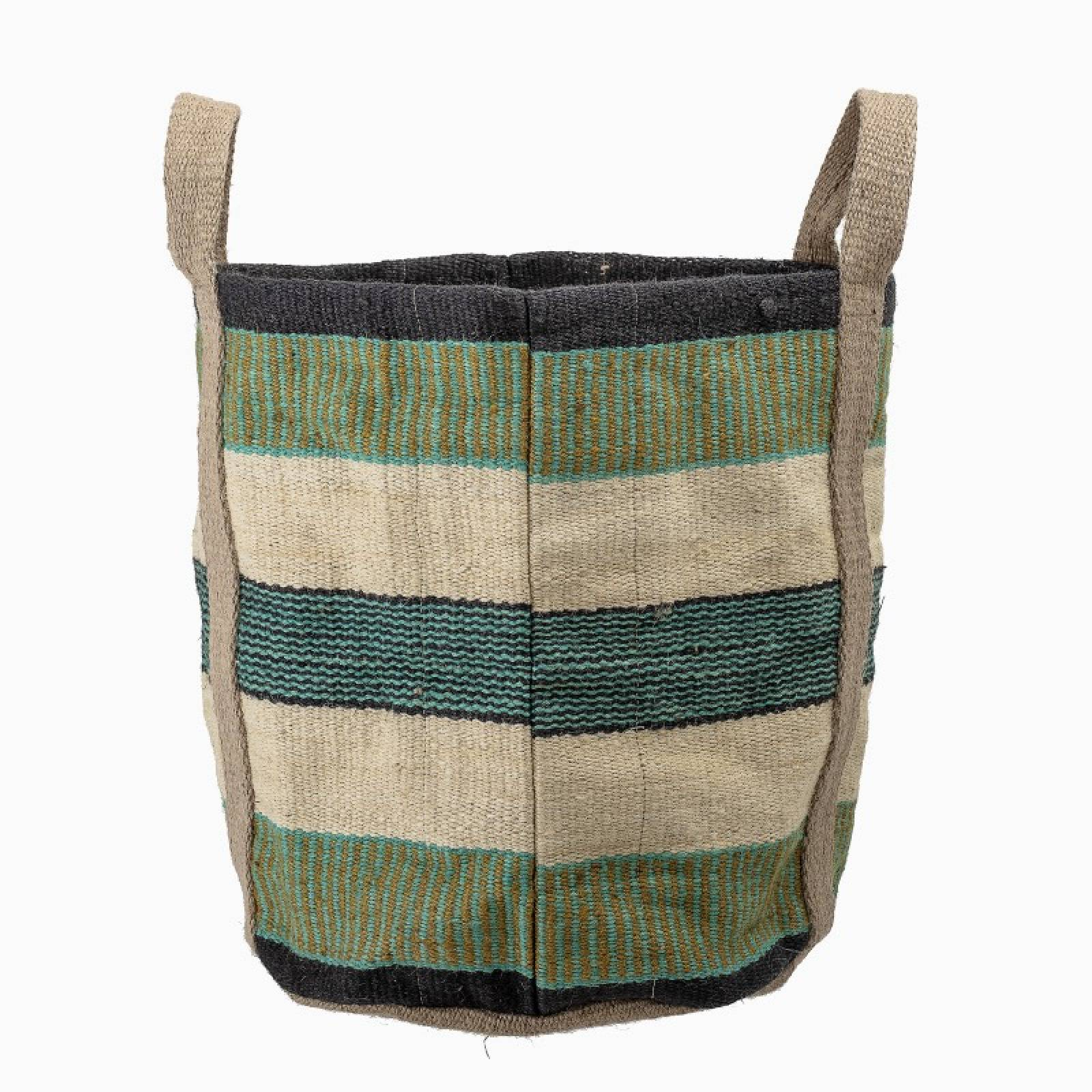 Green Striped Jute Bag With Handles thumbnails
