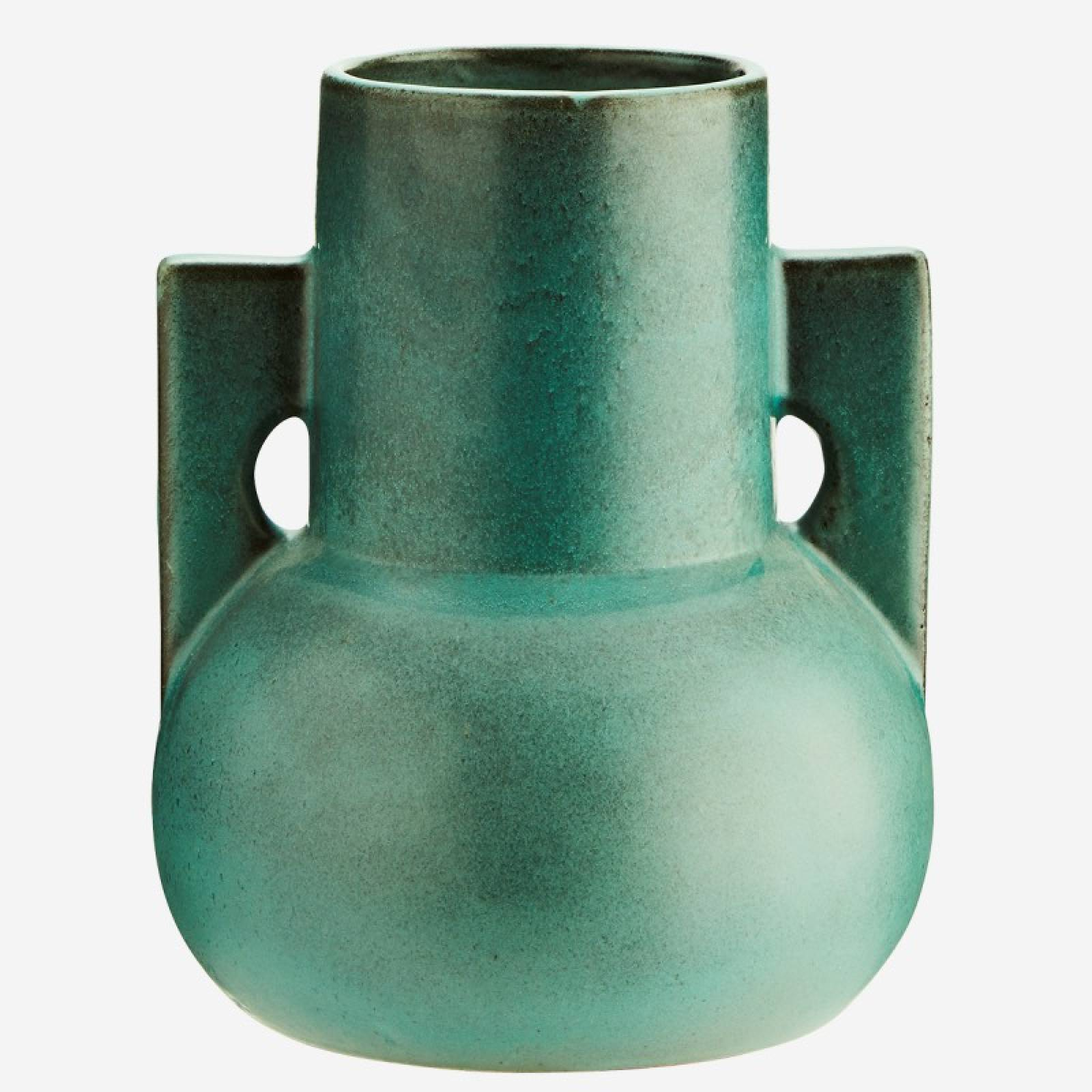 Green Terracotta Vase with Angular Handles