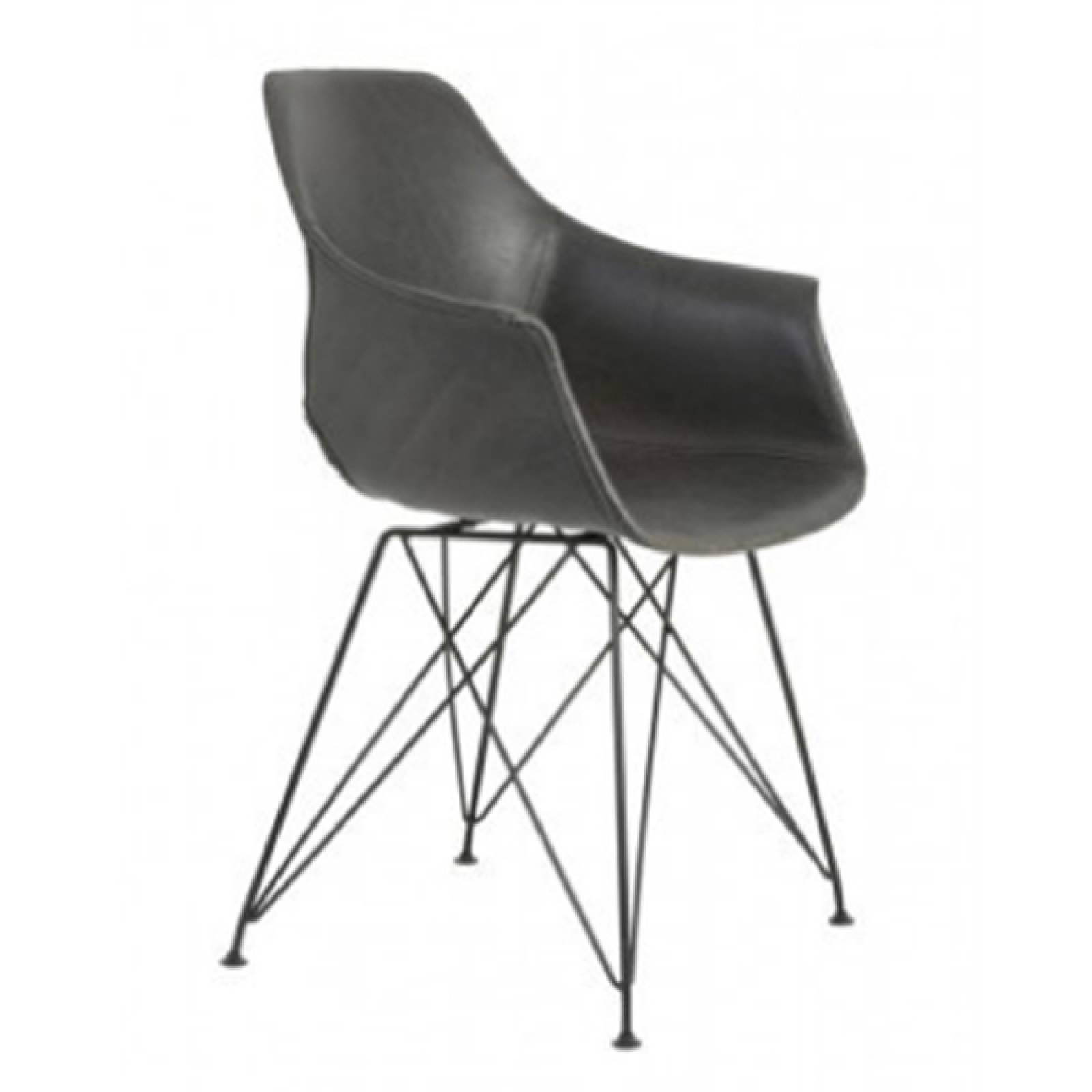 Brenis Grey Chair With Black Wire Legs thumbnails