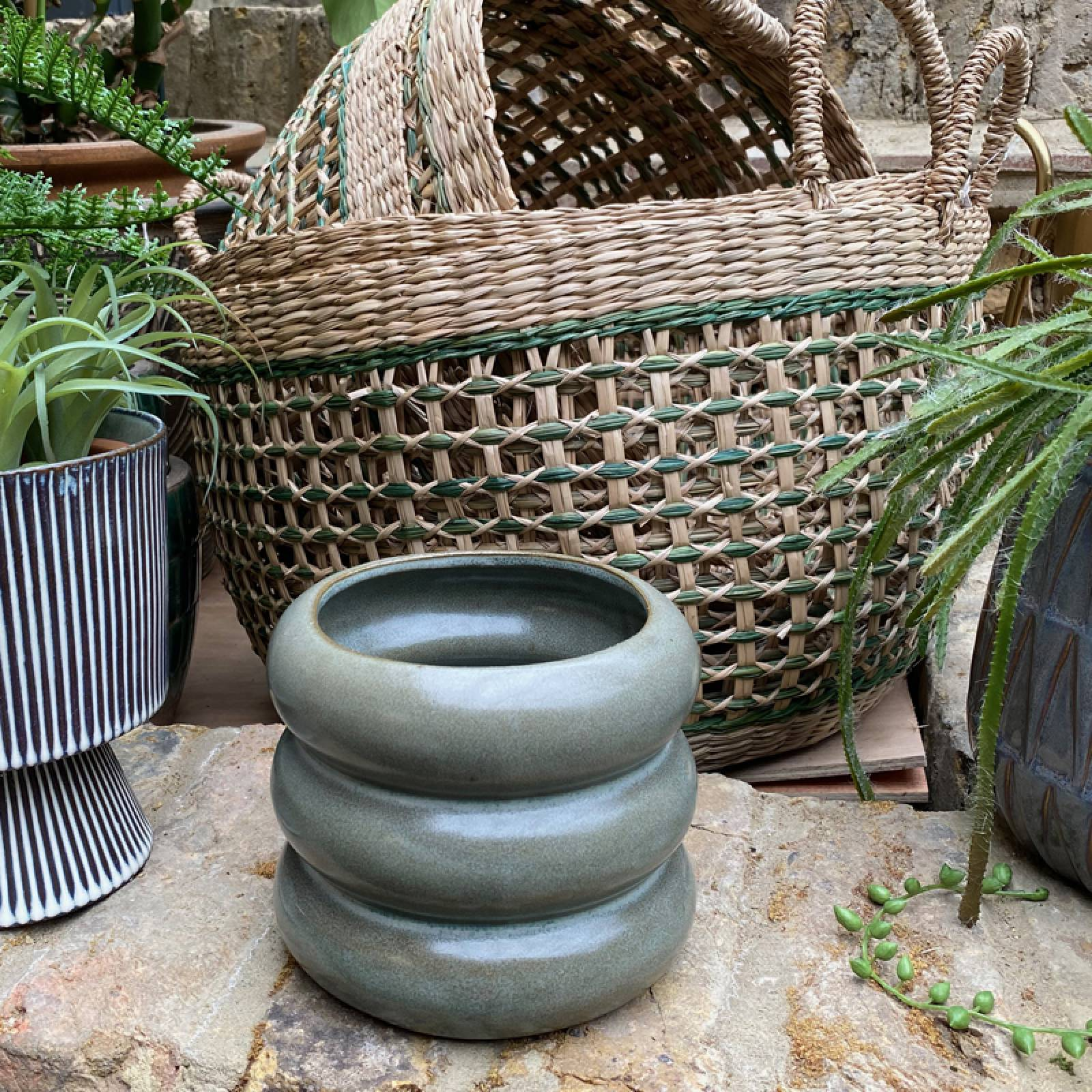 Curved Layered Flower Pot In Soft Green thumbnails