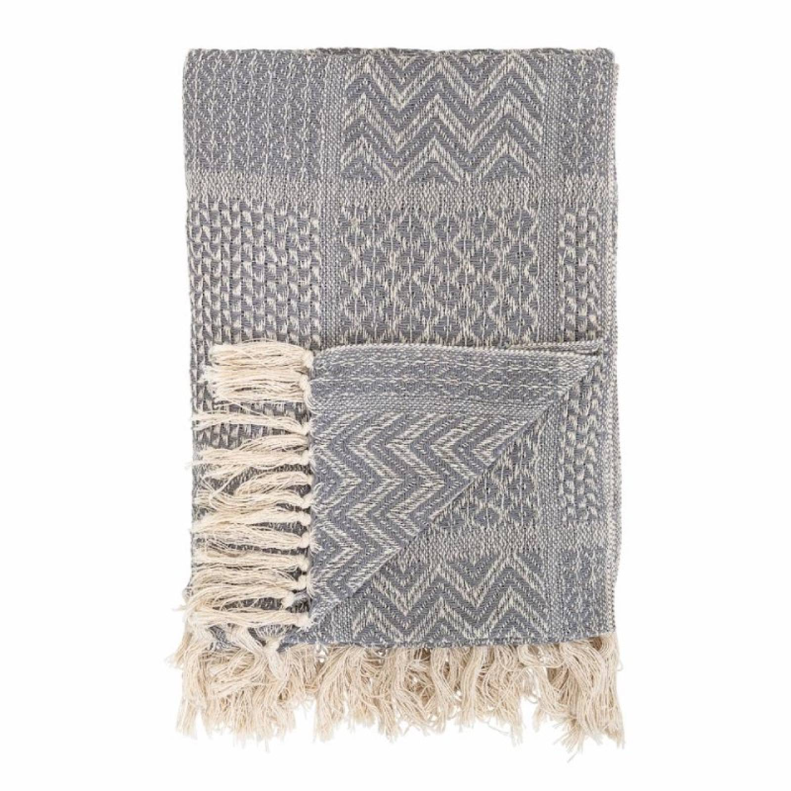 Grey Multi-Patterned Blanket Made From Recycled Cotton thumbnails