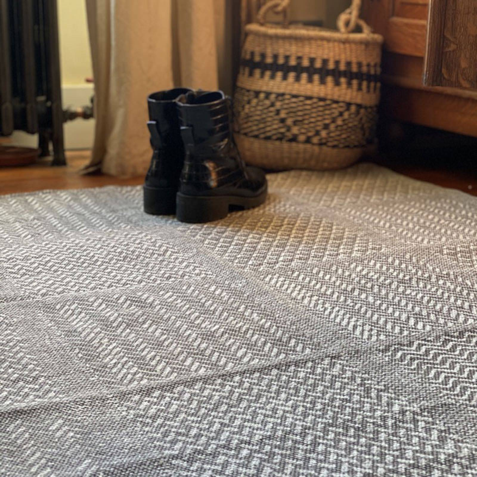 Multi-Textured Woven Cotton Rug In Grey thumbnails