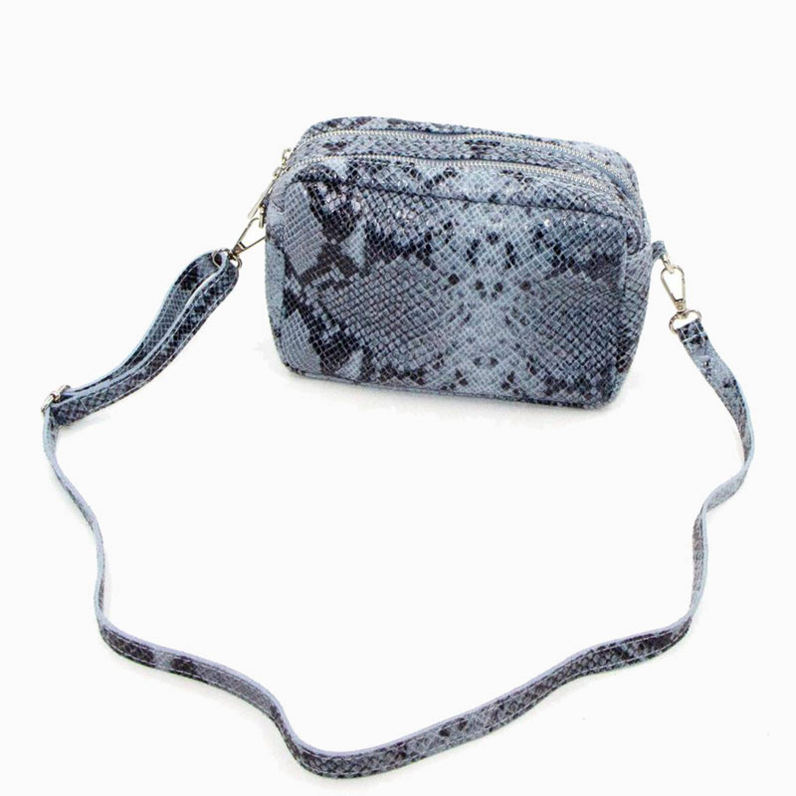Snake Print Double Zip Cross Body Bag In Light Grey thumbnails