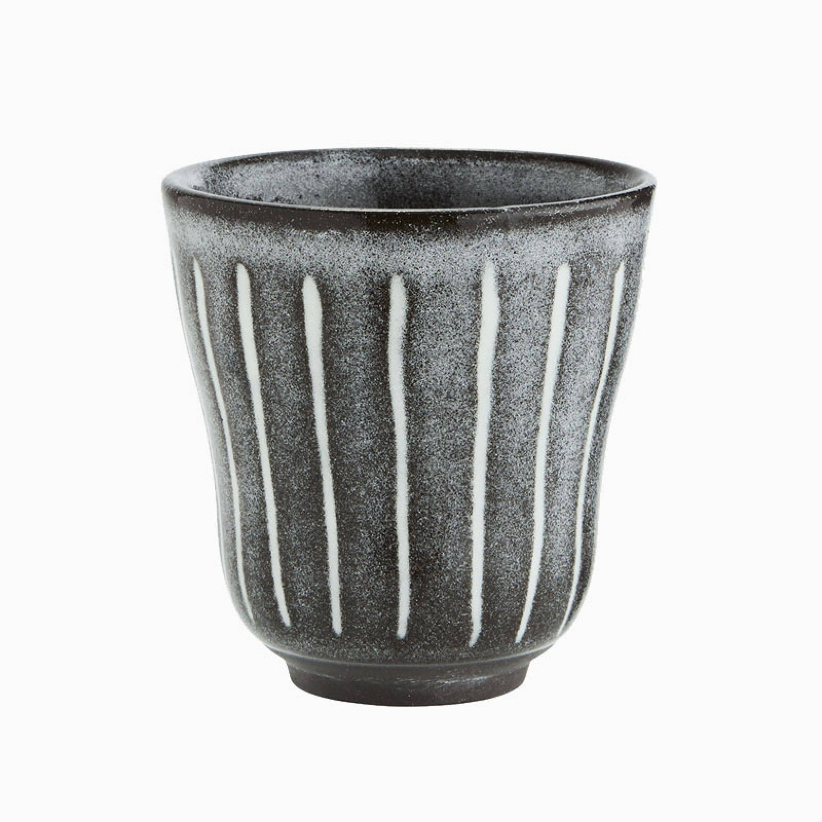 Grey Striped Stoneware Cup