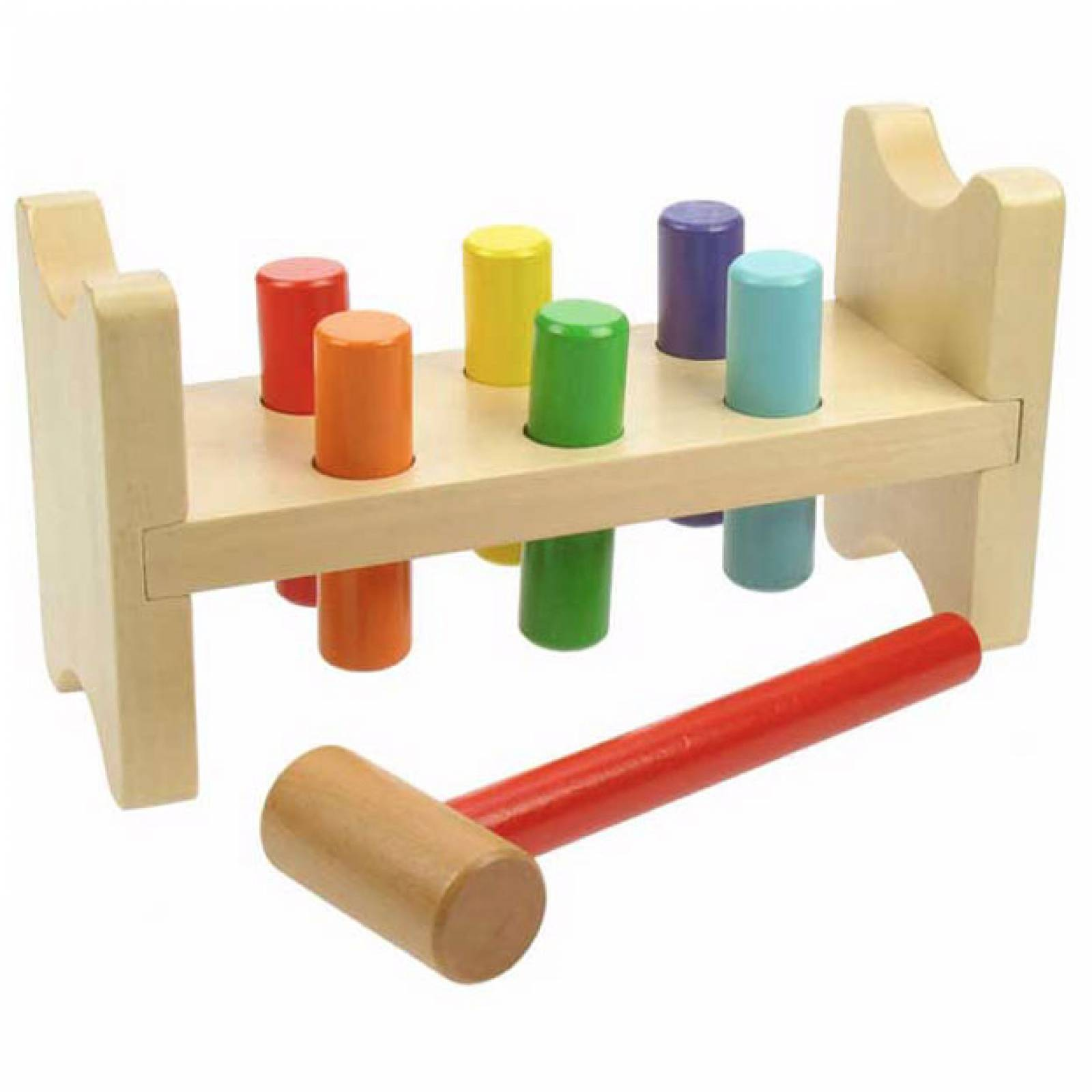 Wooden Hammer Peg Pounding Bench 1+