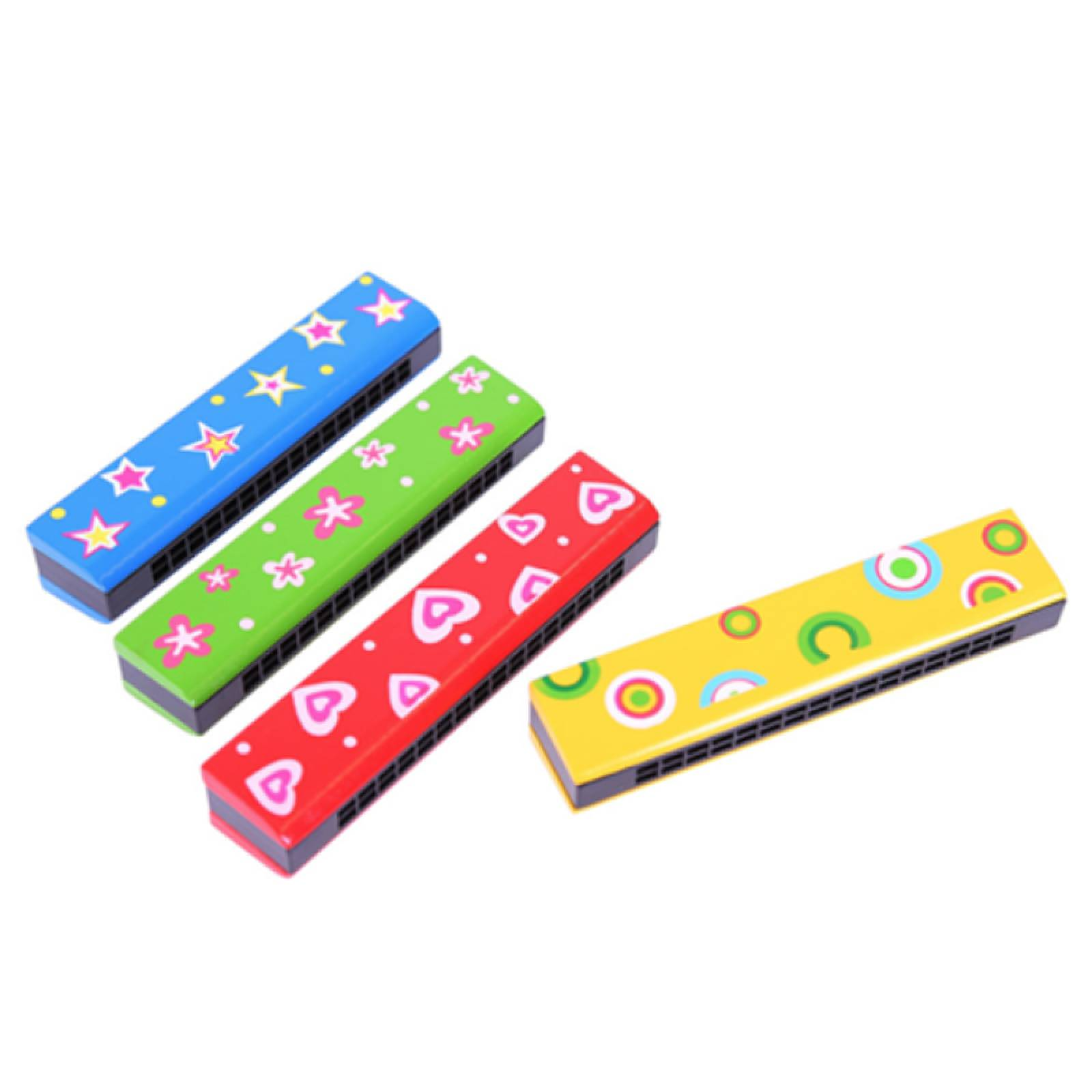Wooden Brightly Coloured Harmonica
