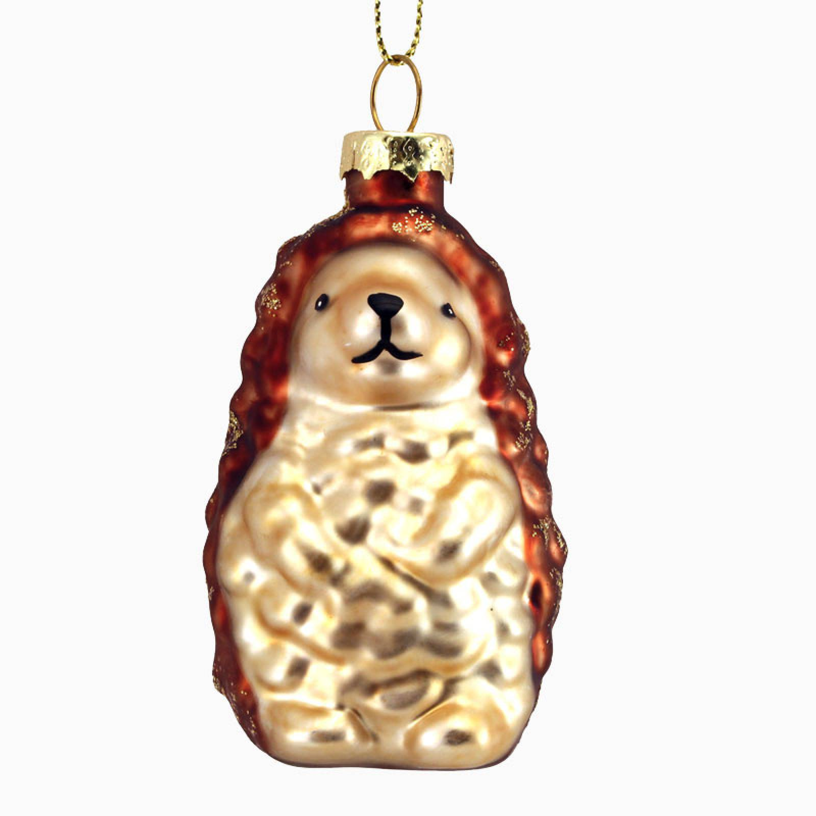 Hedgehog Glass Christmas Decoration