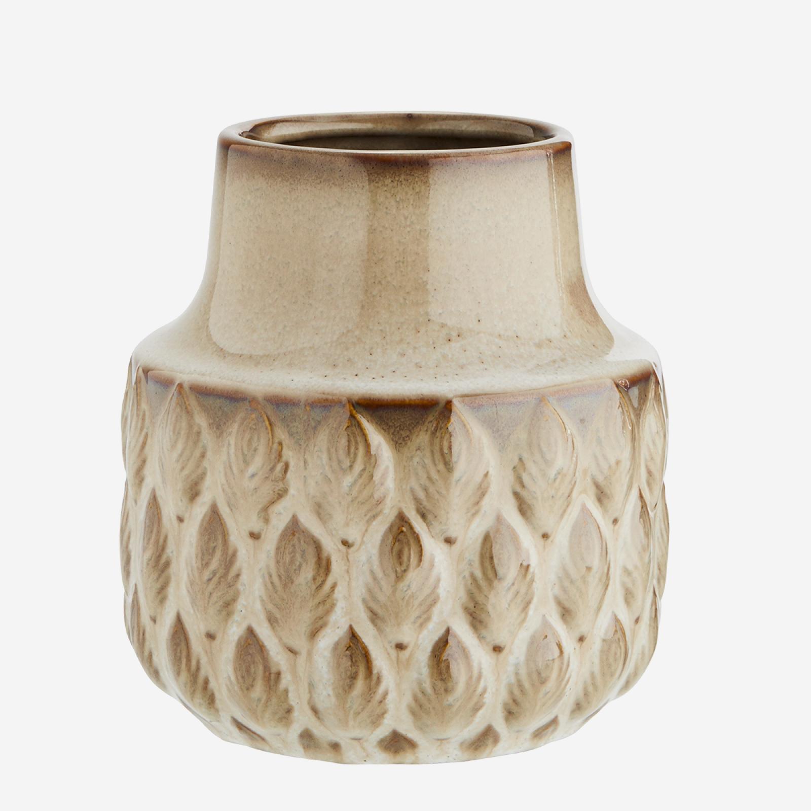 Beige Stoneware Vase 12.5 x 13 cm