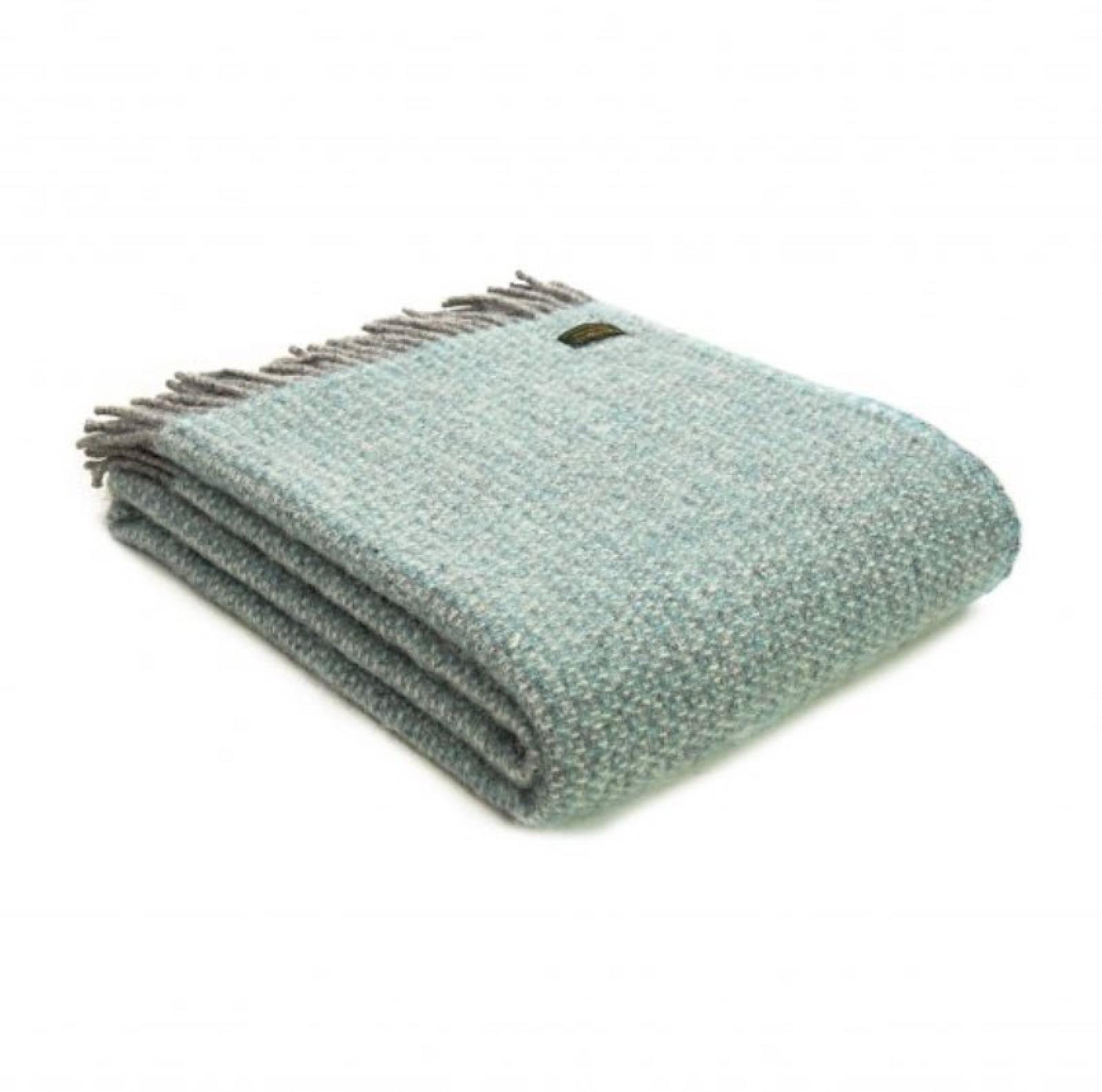 Illusion Spearmint & Grey Wool Knee Blanket 70x183cm