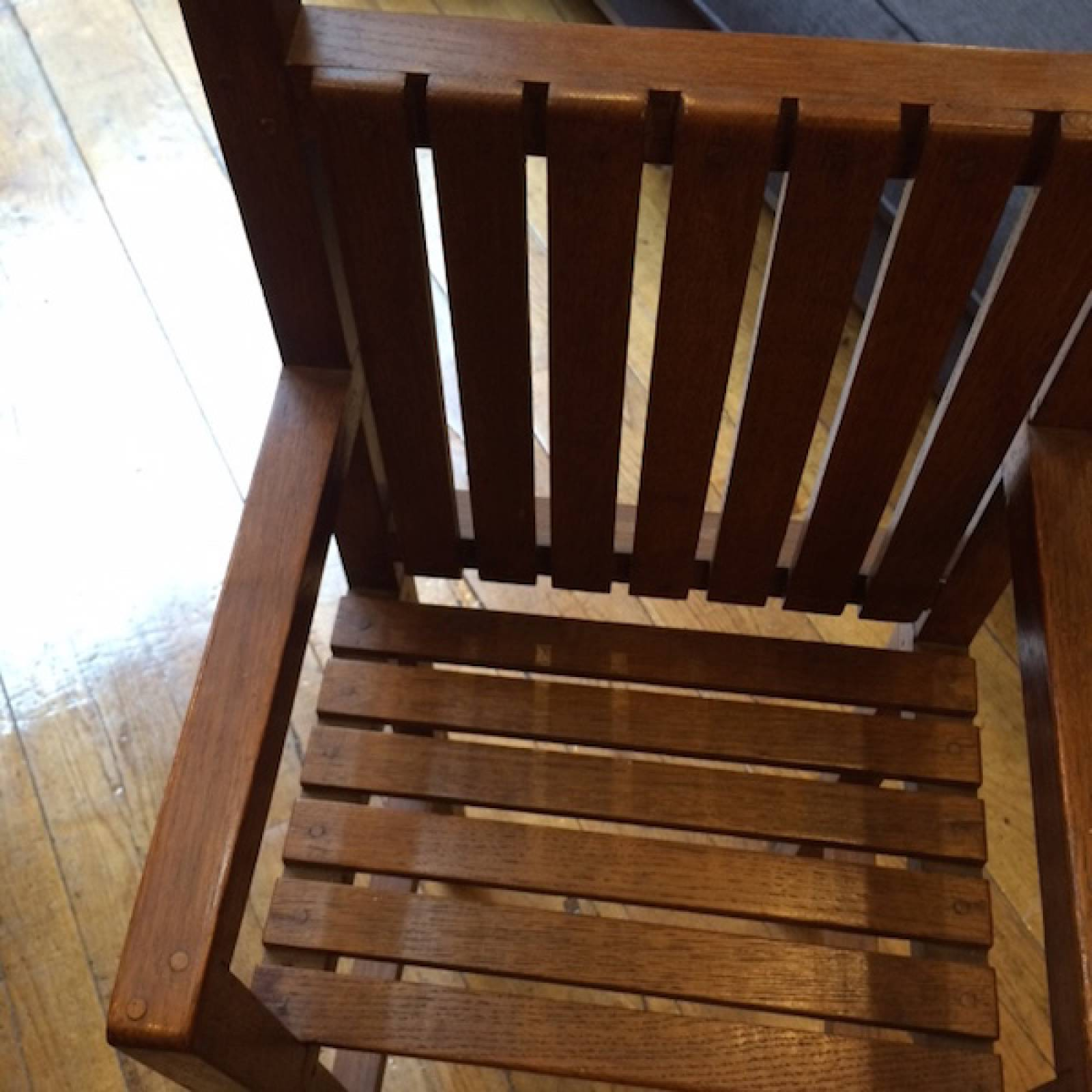 Children's High Chair Vintage Wooden Slatted thumbnails