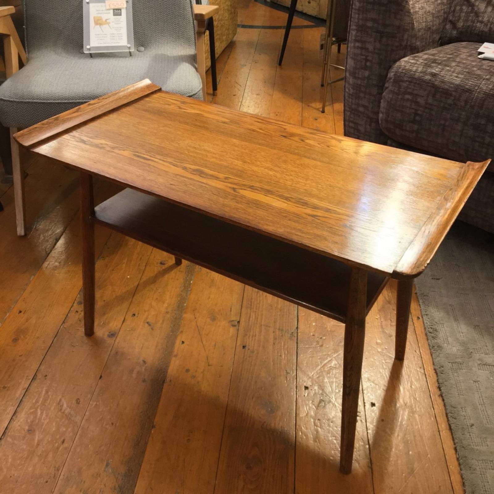 Mid Century Oak Hall Table With Curved Ends