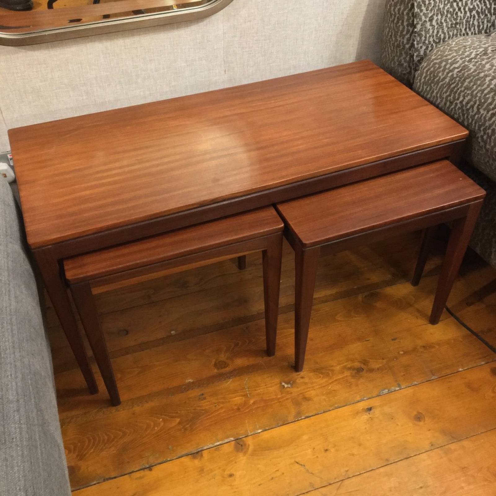 1970s Afromosia Nest of Tables, One Rectangular and Two Square