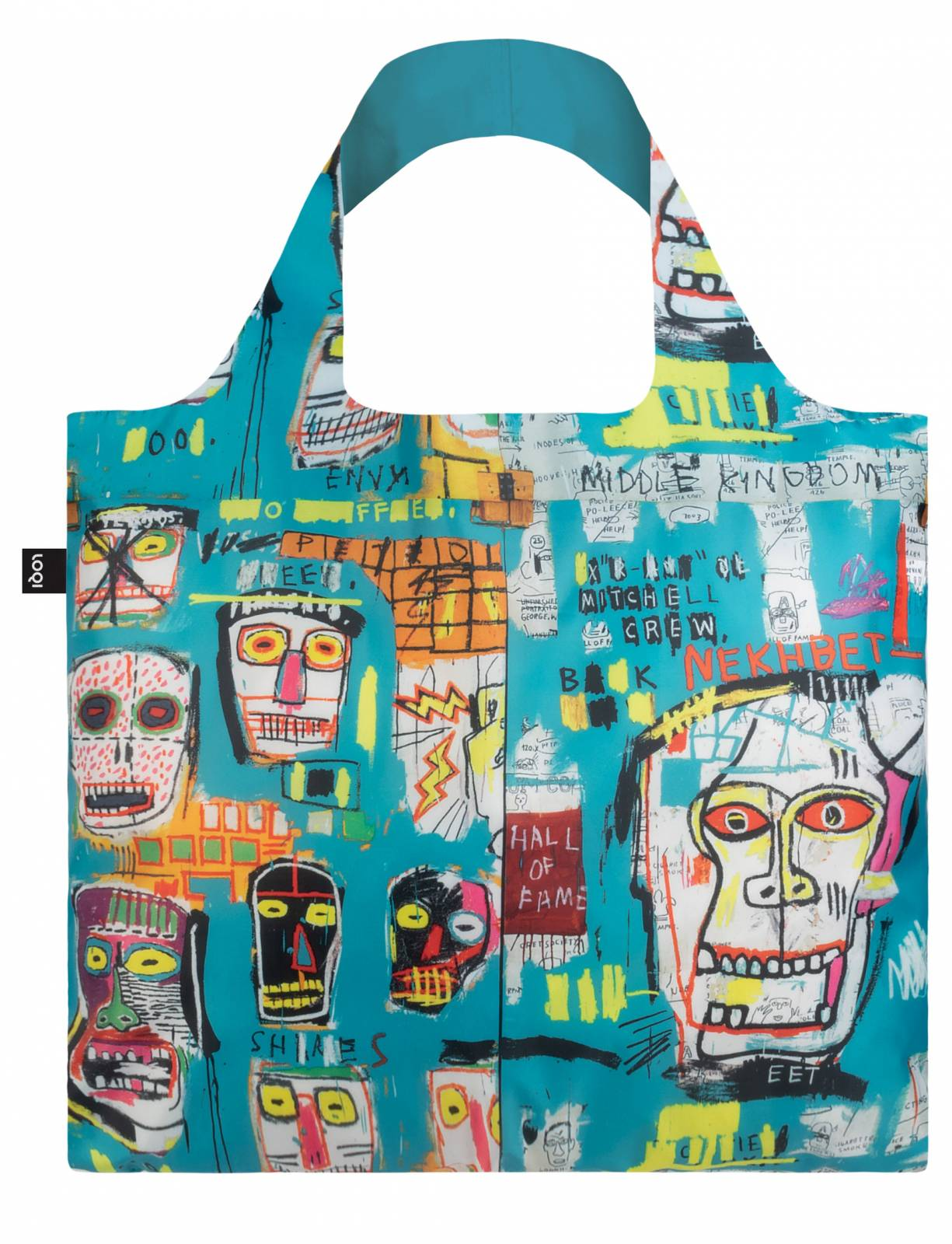 Jean Michel Basquiat Skull Bag - Reusable Tote Bag With Pouch thumbnails