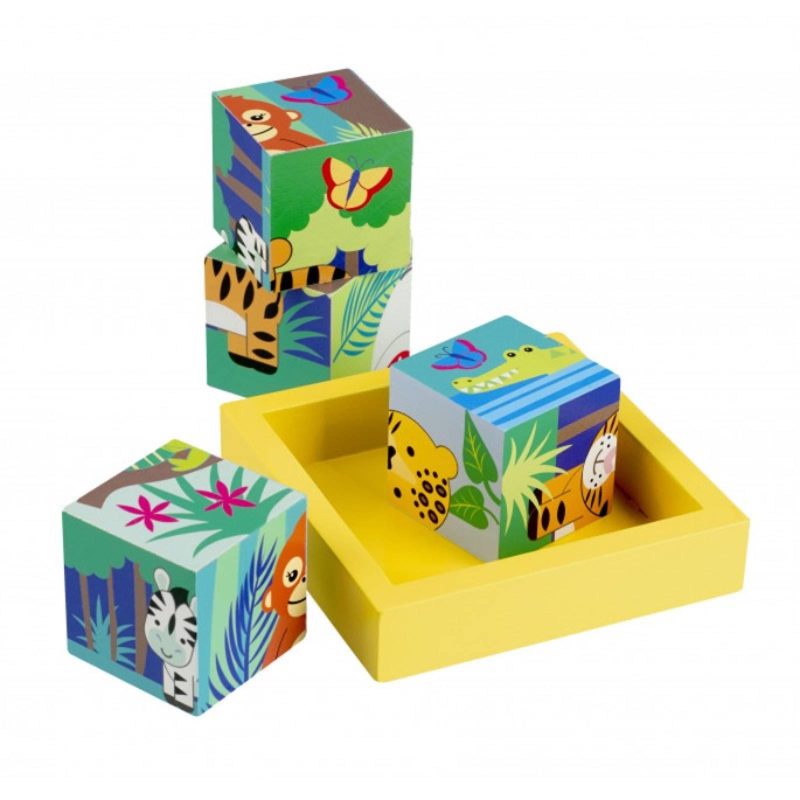 Jungle Animals Wooden Blocks In Tray By Orange Tree 1+ thumbnails