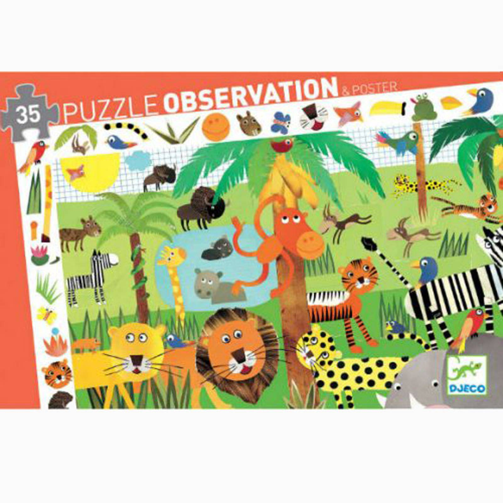 Jungle Observation Jigsaw Puzzle 35 Piece By Djeco