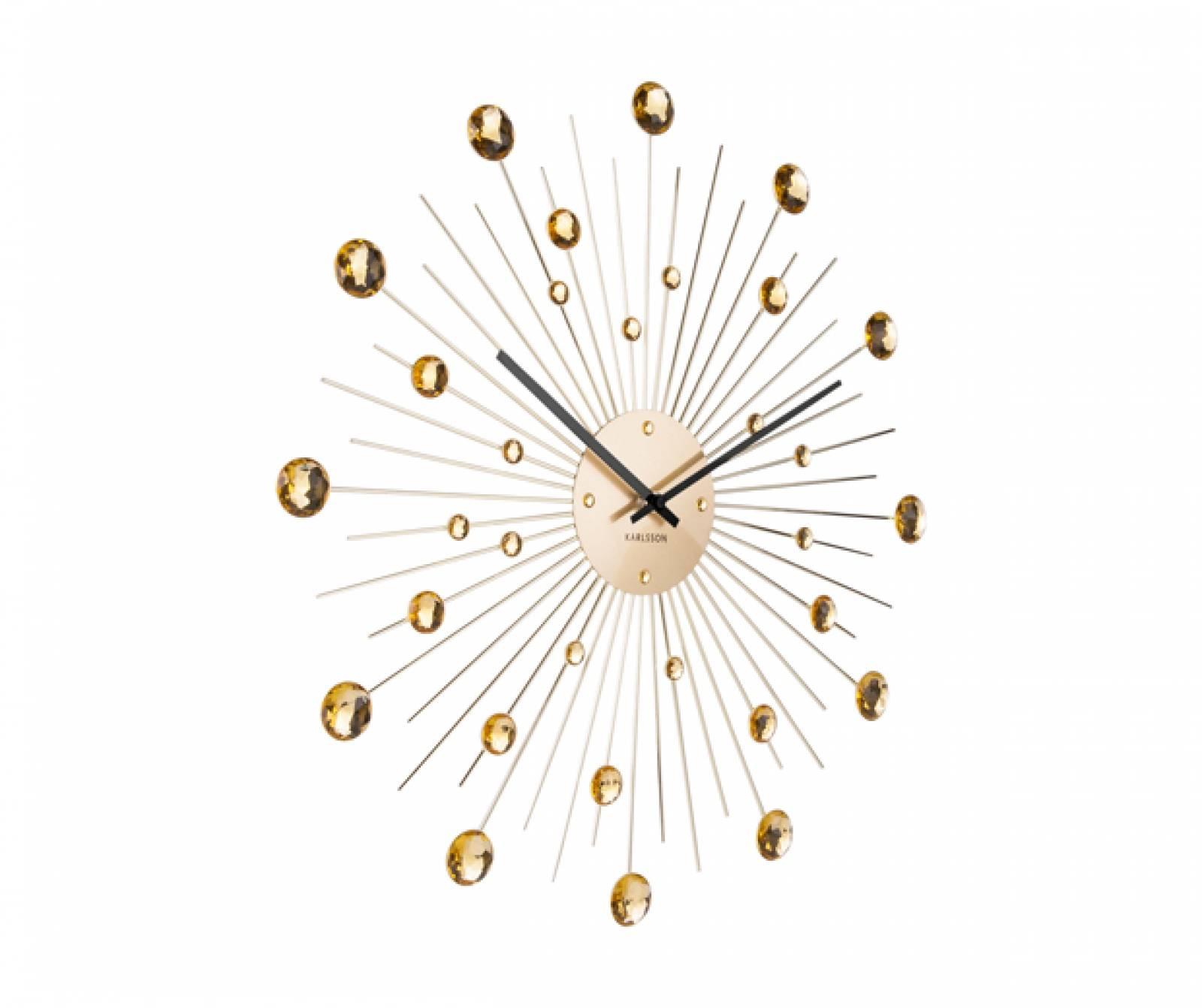 Sunburst Crystal Gold Wall Clock 50cm thumbnails