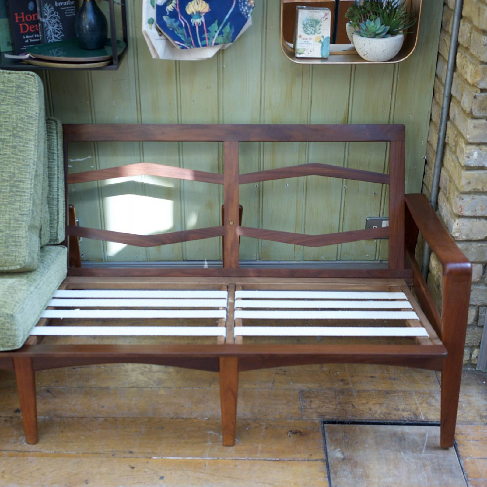 Komfort Four Seat Danish Teak Settee with Green Upholstery thumbnails