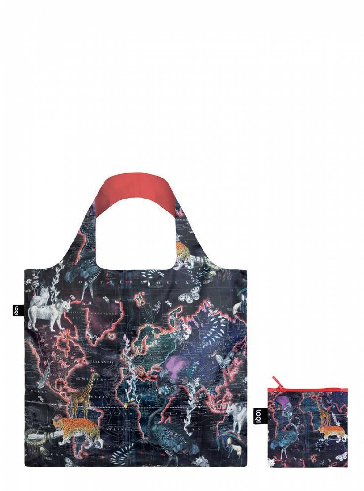 World Map - Reusable Tote Bag With Pouch thumbnails