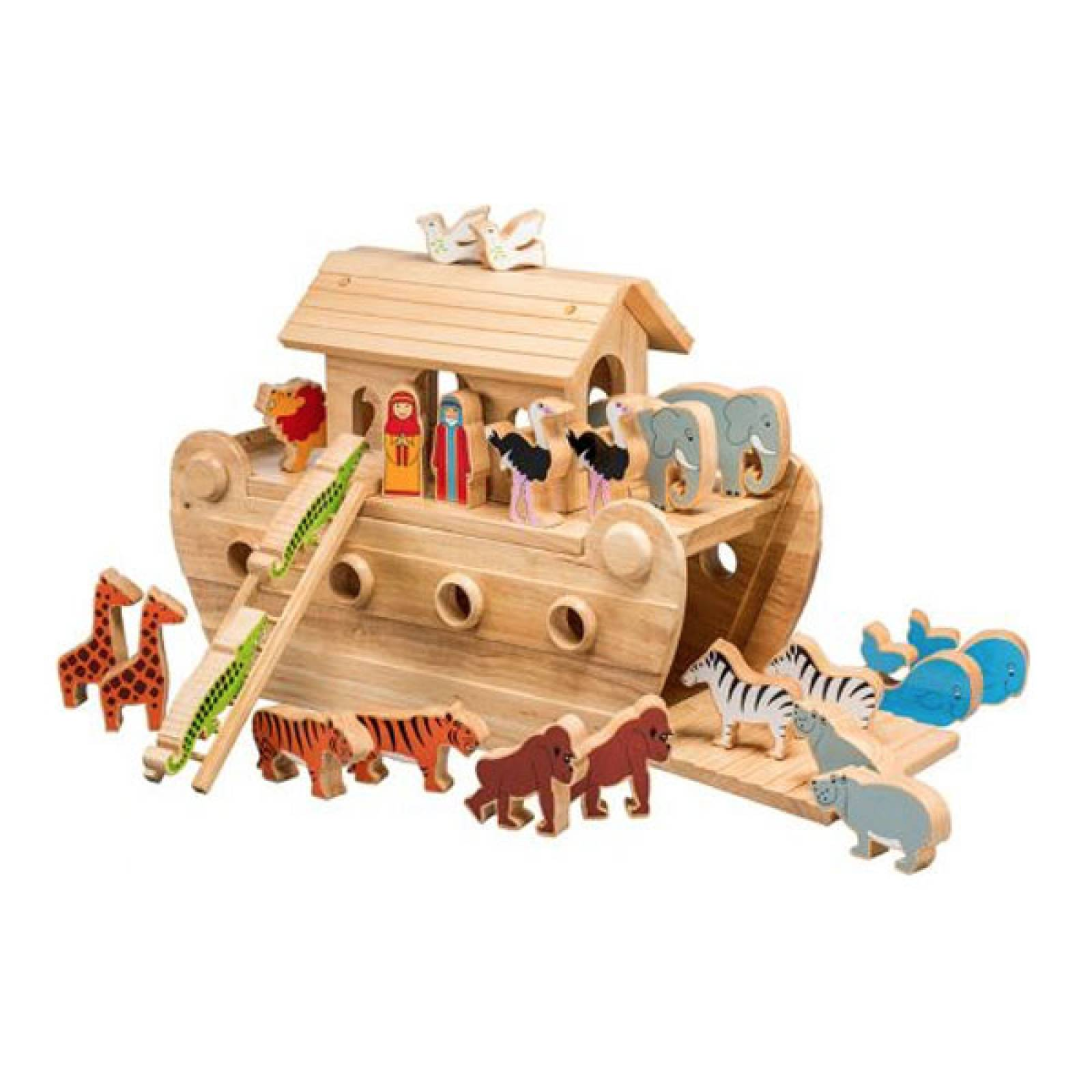Giant Noahs Ark Made Natural Wood Colourful Animals