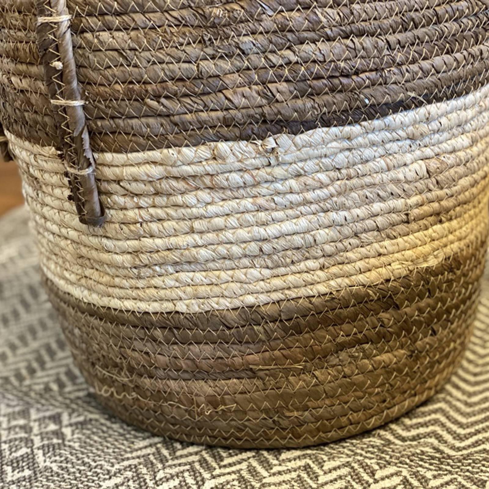 Large Striped Banana Leaf Basket With Handles H:30x36 thumbnails