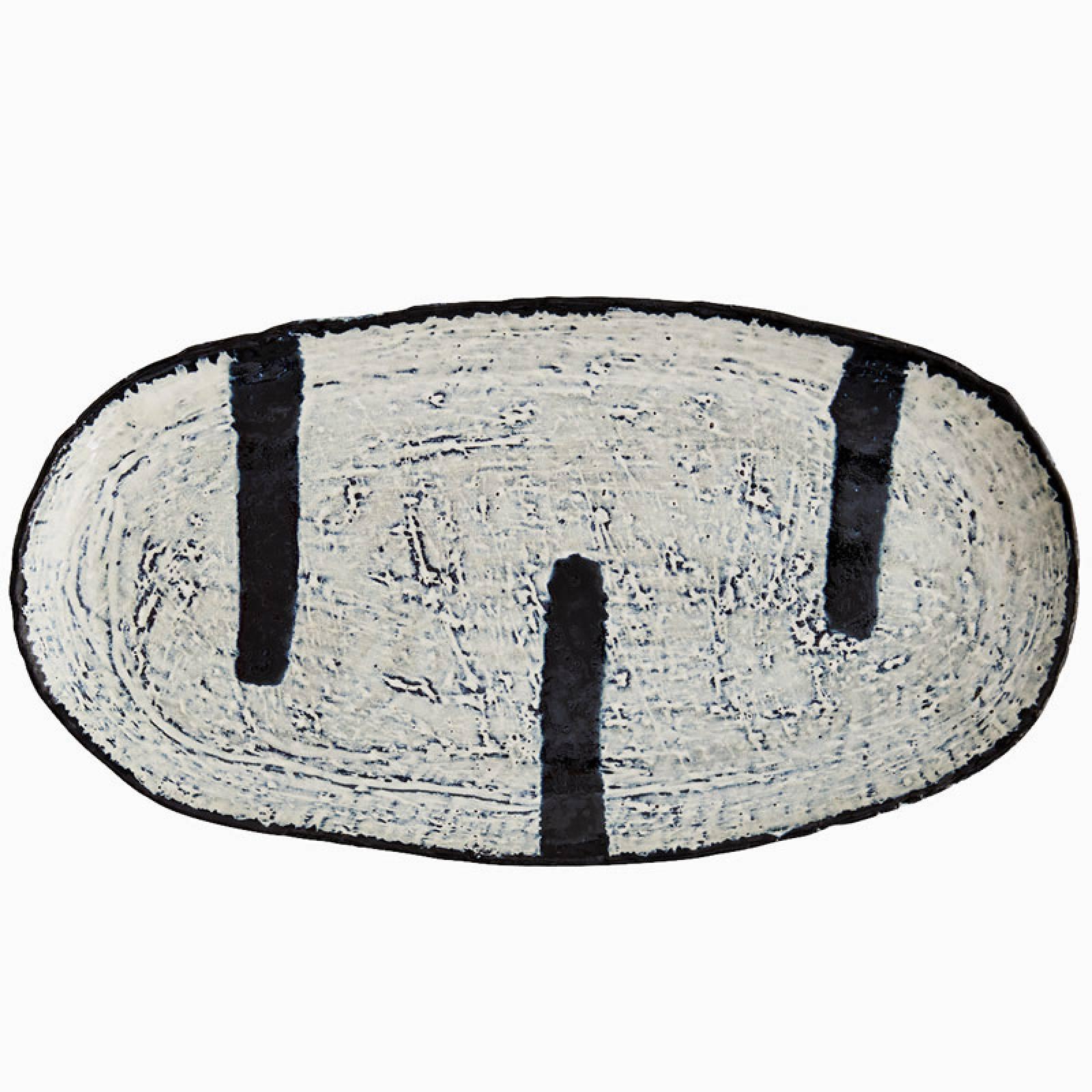 Large Blue & White Oval Stoneware Platter thumbnails