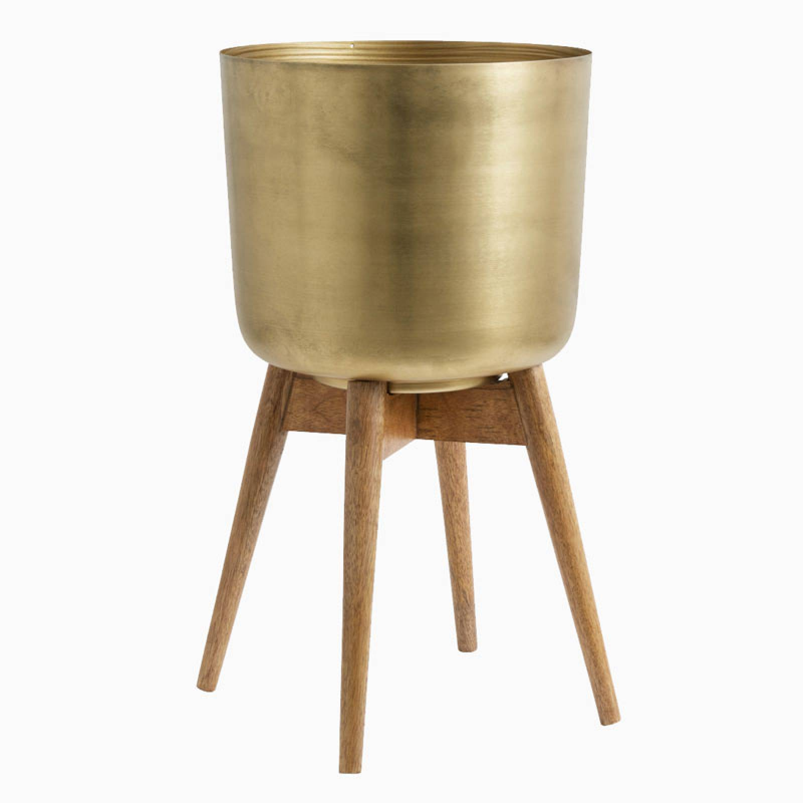Large Brass Planter With Wooden Base 52cm