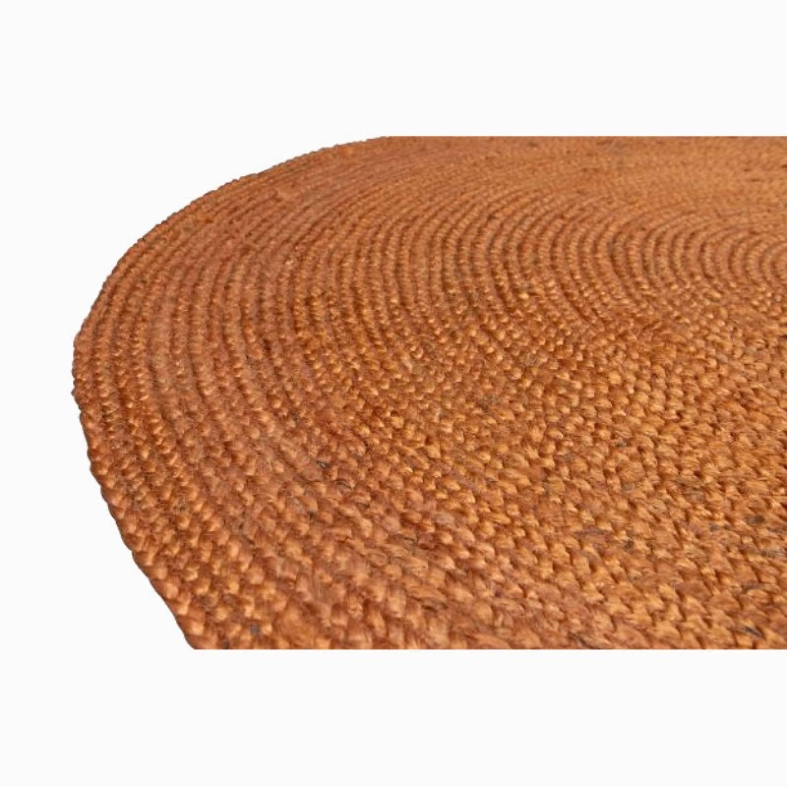 Large Circular Jute Rug In Orange D:150cm thumbnails