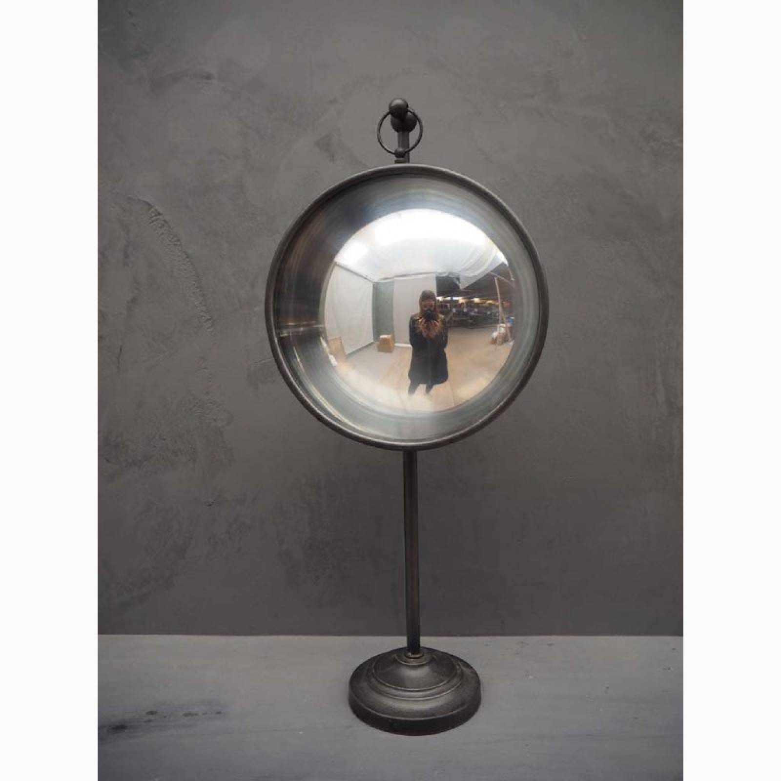 Large Convex Table Mirror On Adjustable Metal Stand thumbnails