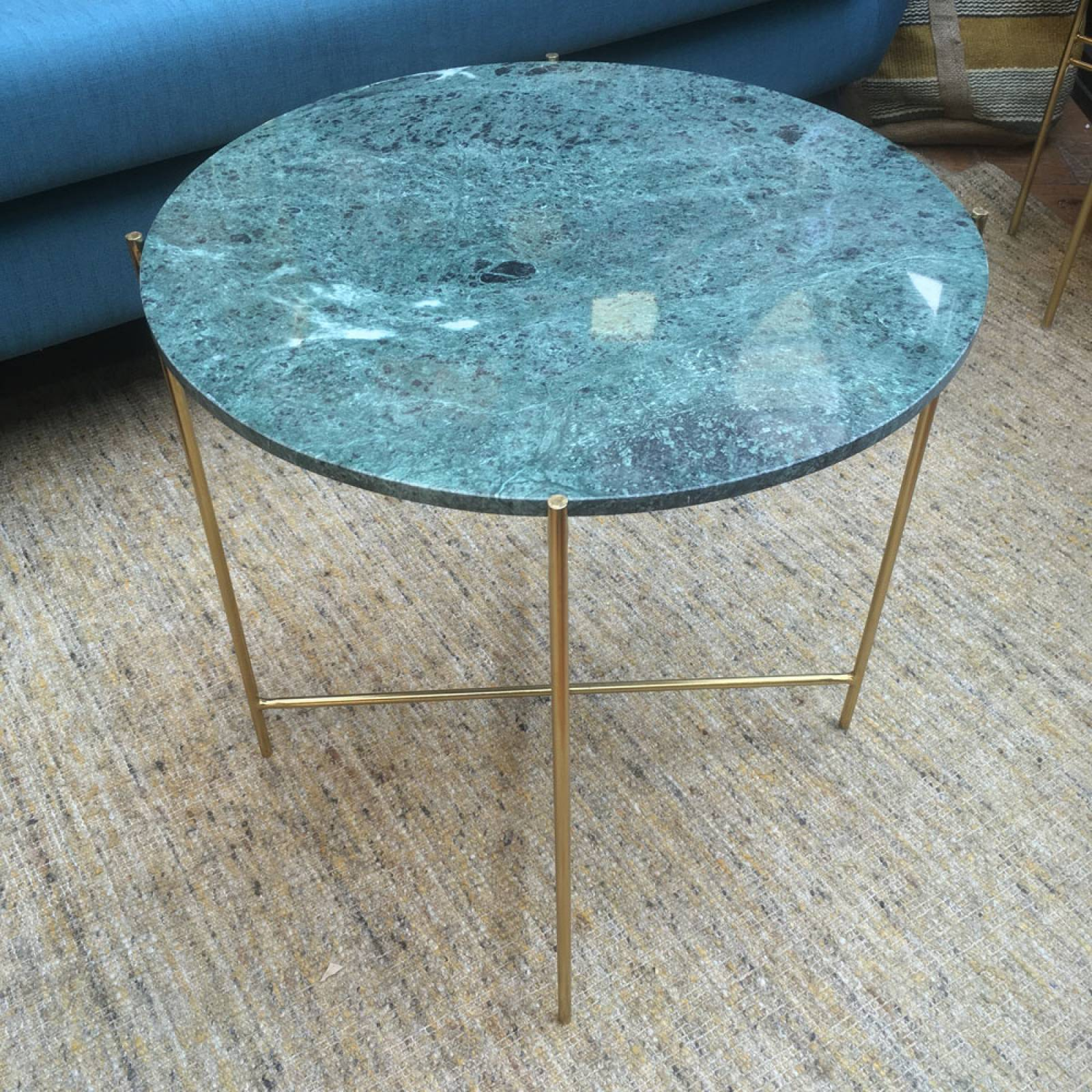 Large Circular Green Marble Table Gold Legs   Delivery Surcharge