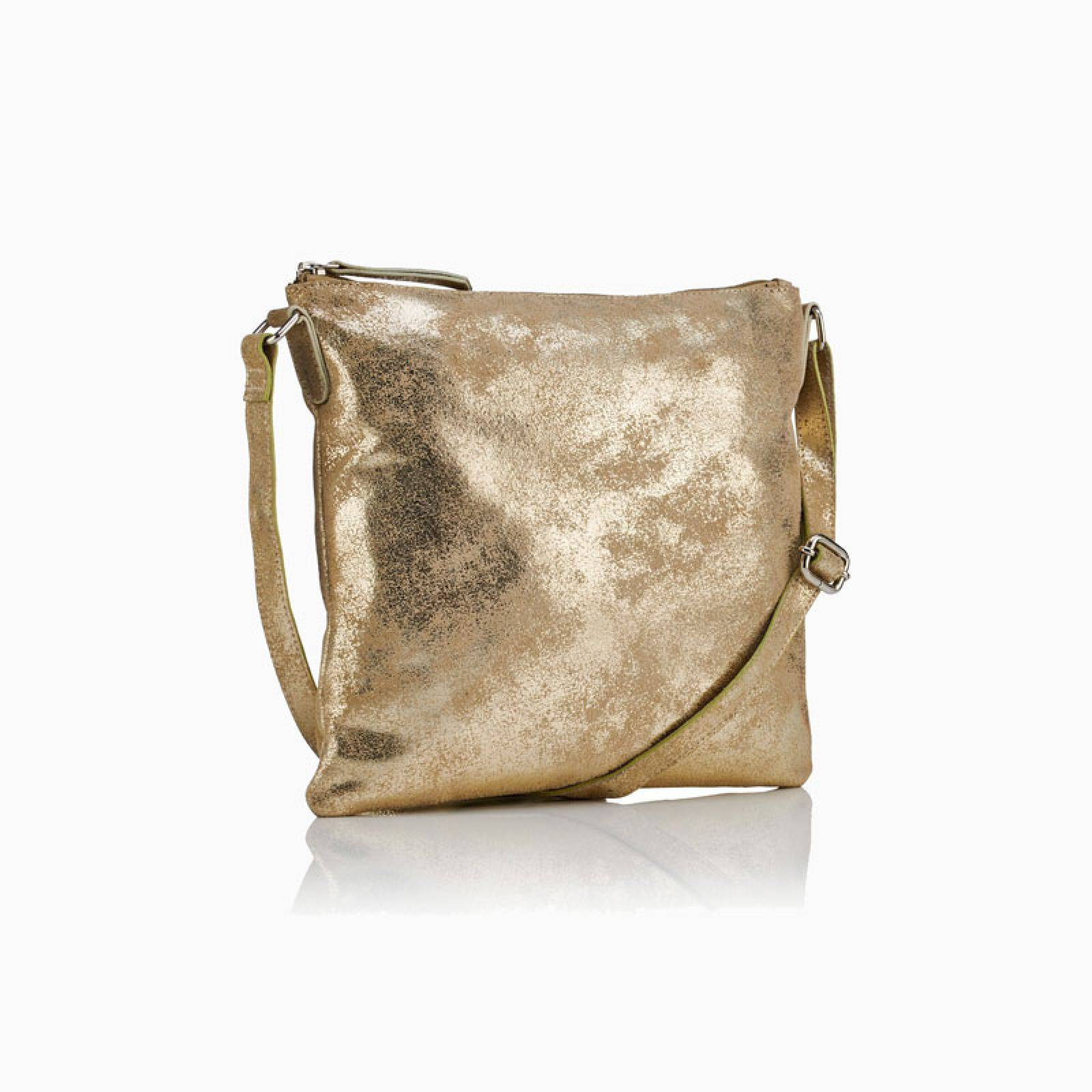 Large Leather Crossbody Bag In Gold