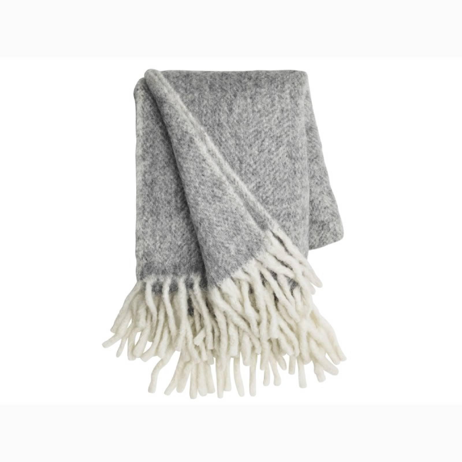 Large Mathea Blanket Throw In Grey