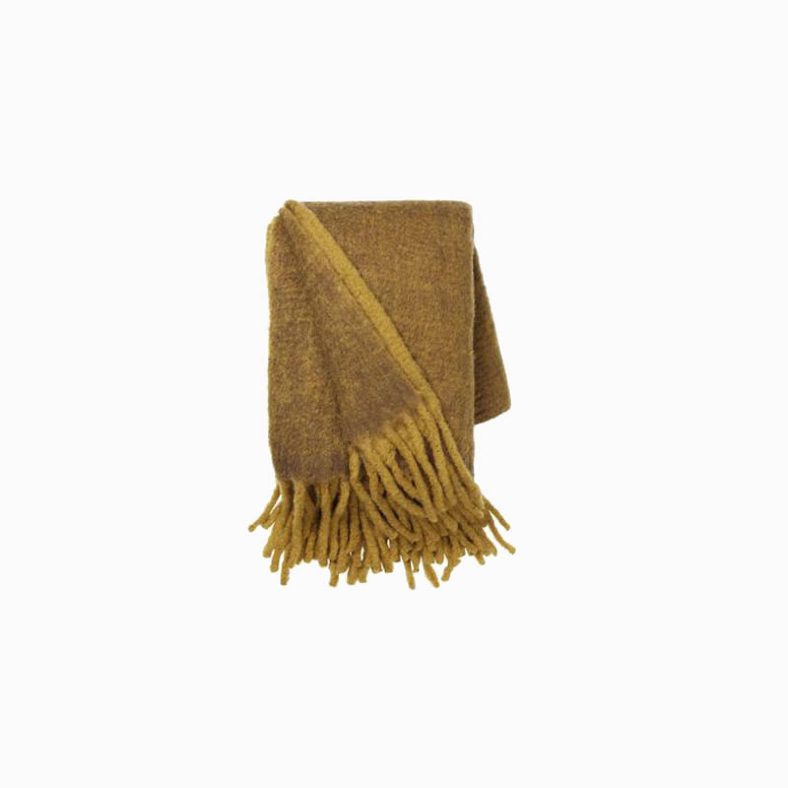 Large Mathea Blanket Throw In Mustard