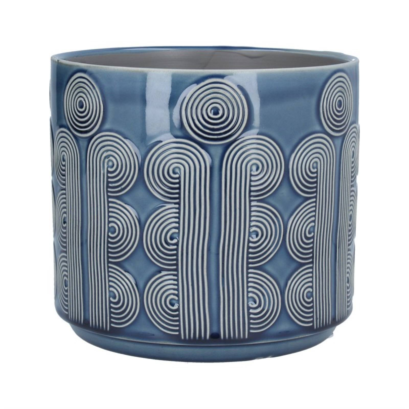 Large Retro Circles Ceramic Flowerpot Cover In Navy Blue
