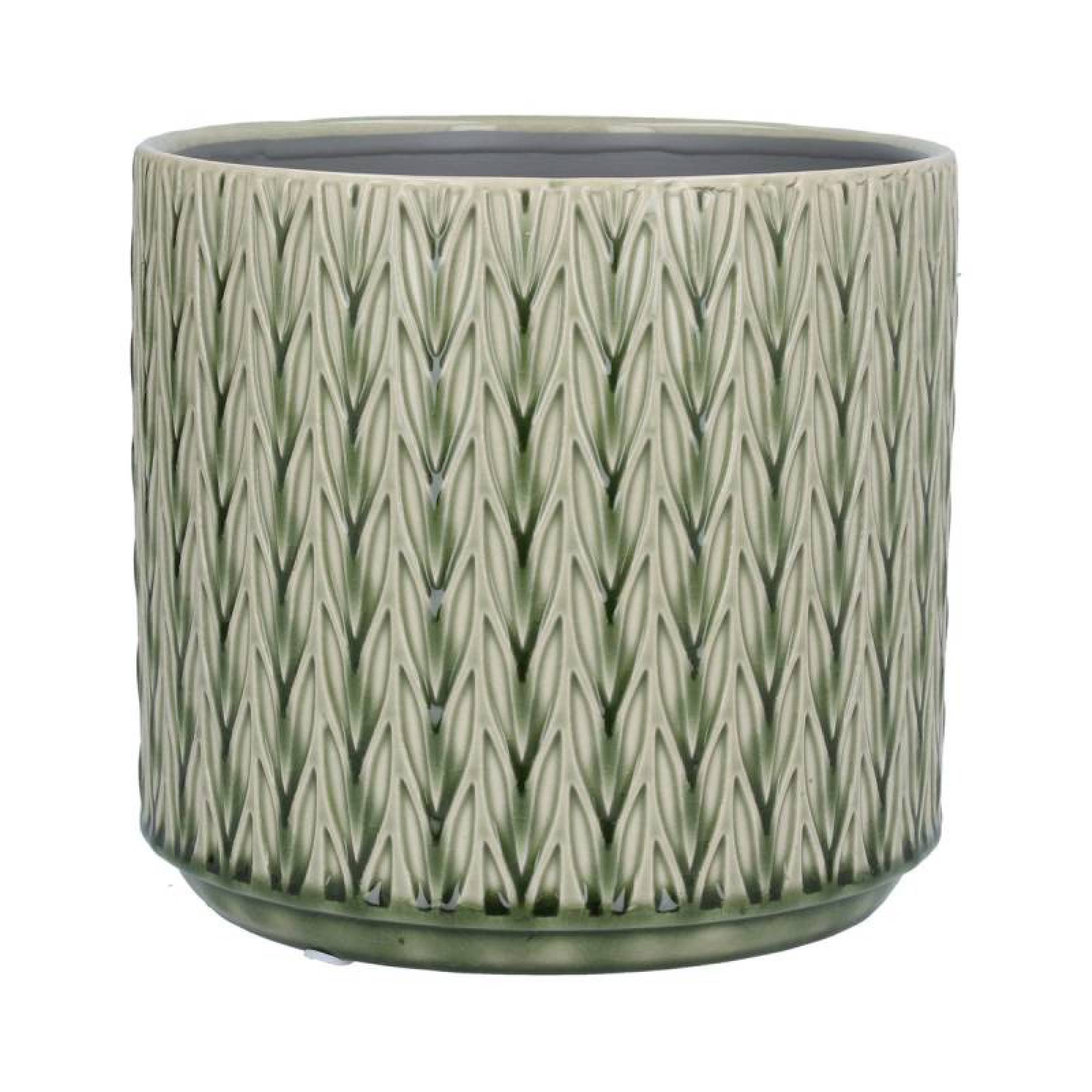 Large Staghorn Ceramic Flowerpot Cover In Green