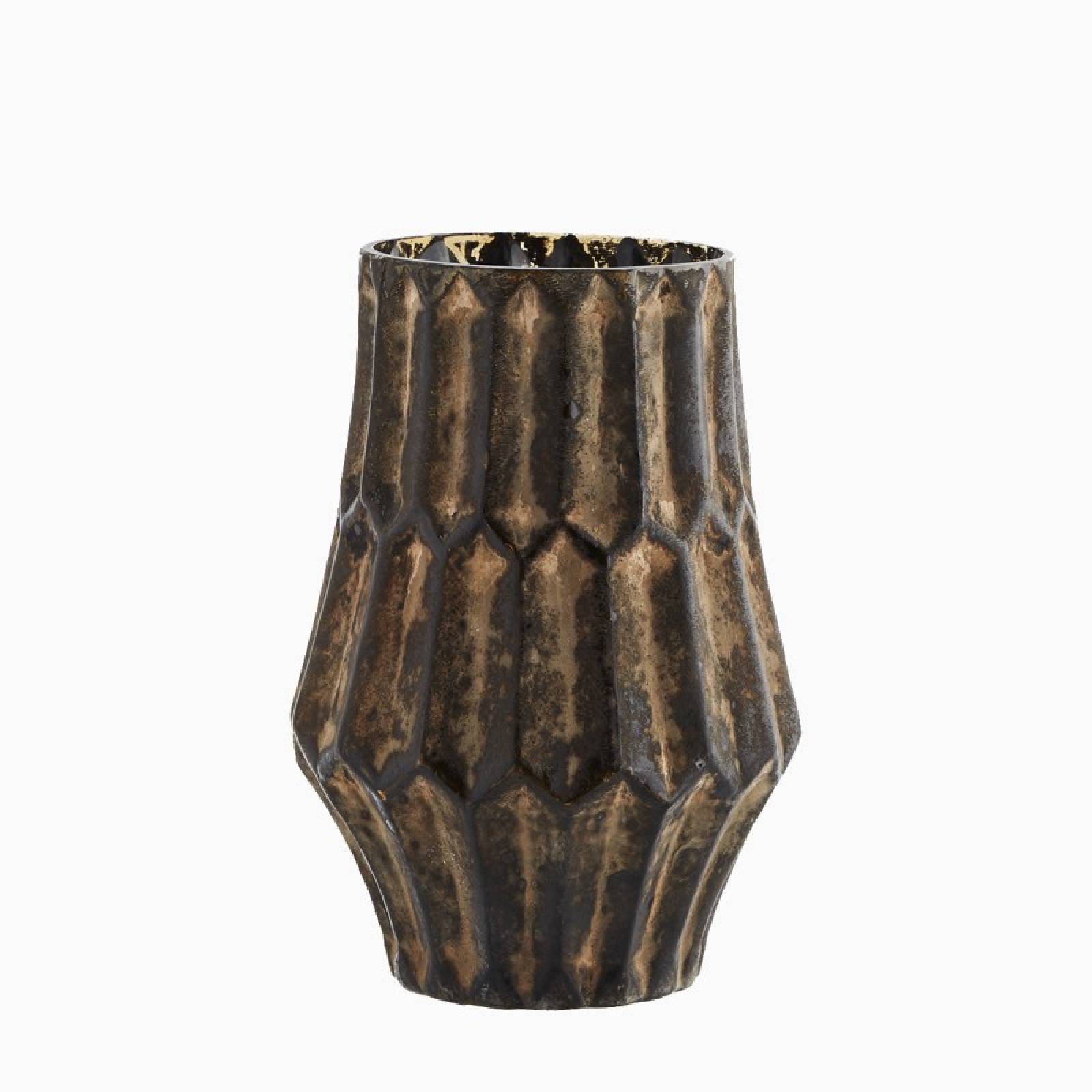 Large Textured Glass Vase In Brown H:18cm thumbnails