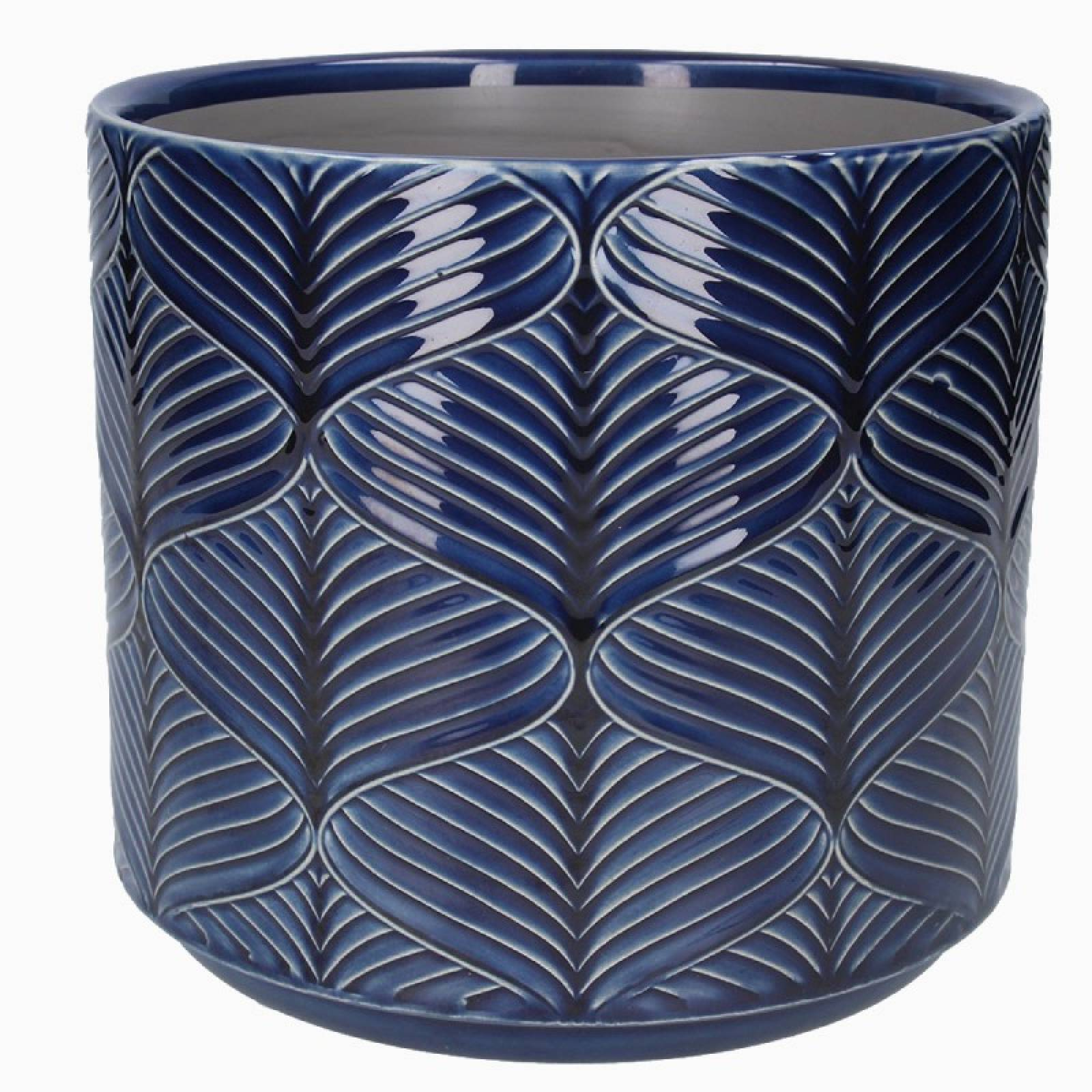Large Wavy Ceramic Flower Pot Cover In Navy