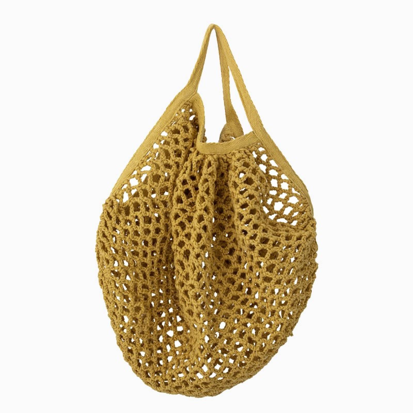Mini Woven Cotton String Bag In Yellow