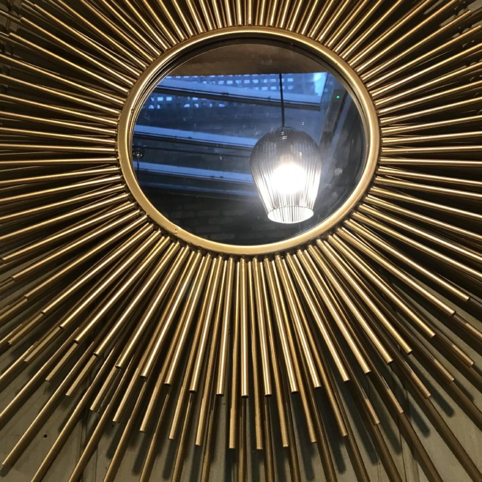 Layered Metal Tubular Sunburst Mirror In Gold thumbnails