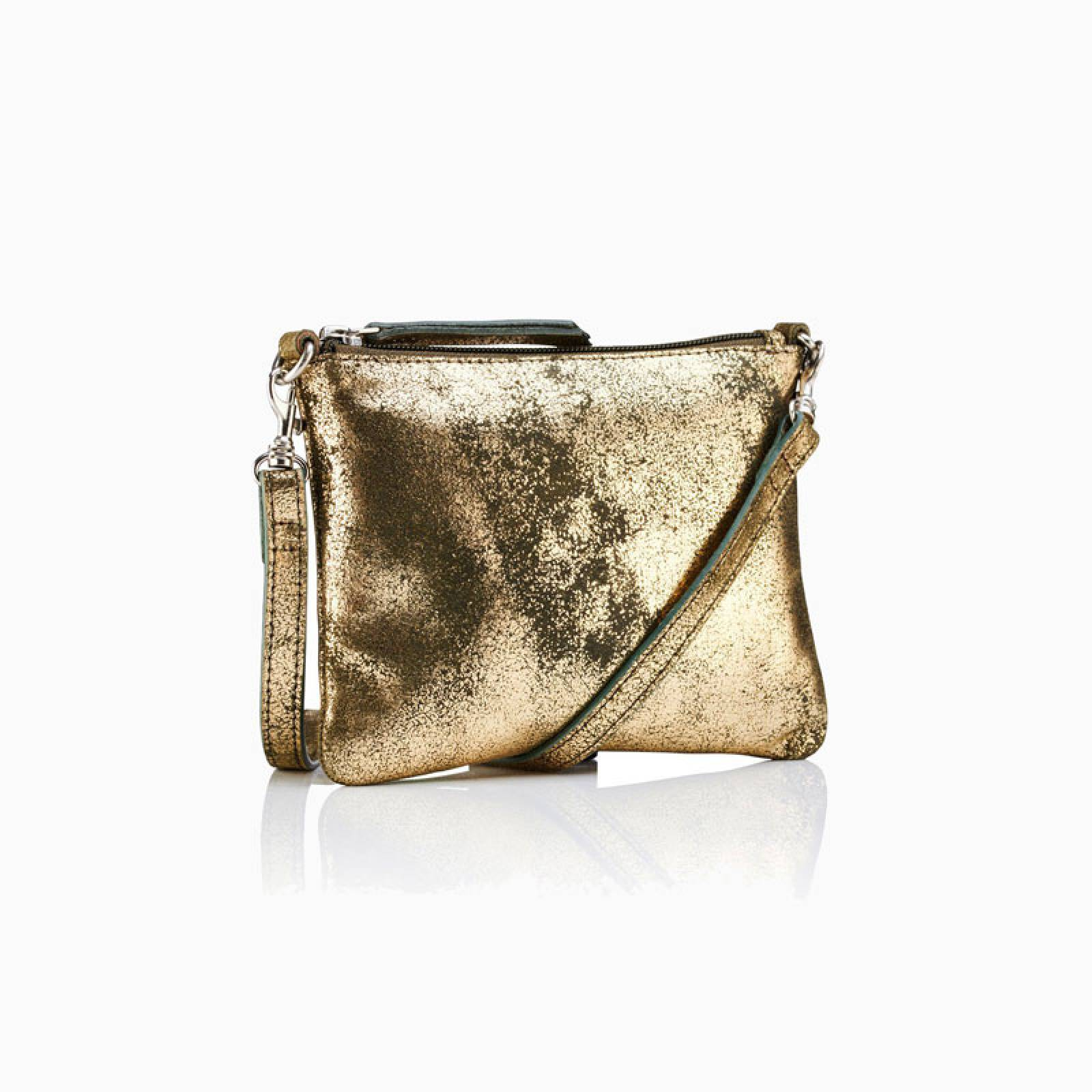 Leather Crossbody Pouch Bag In Gold