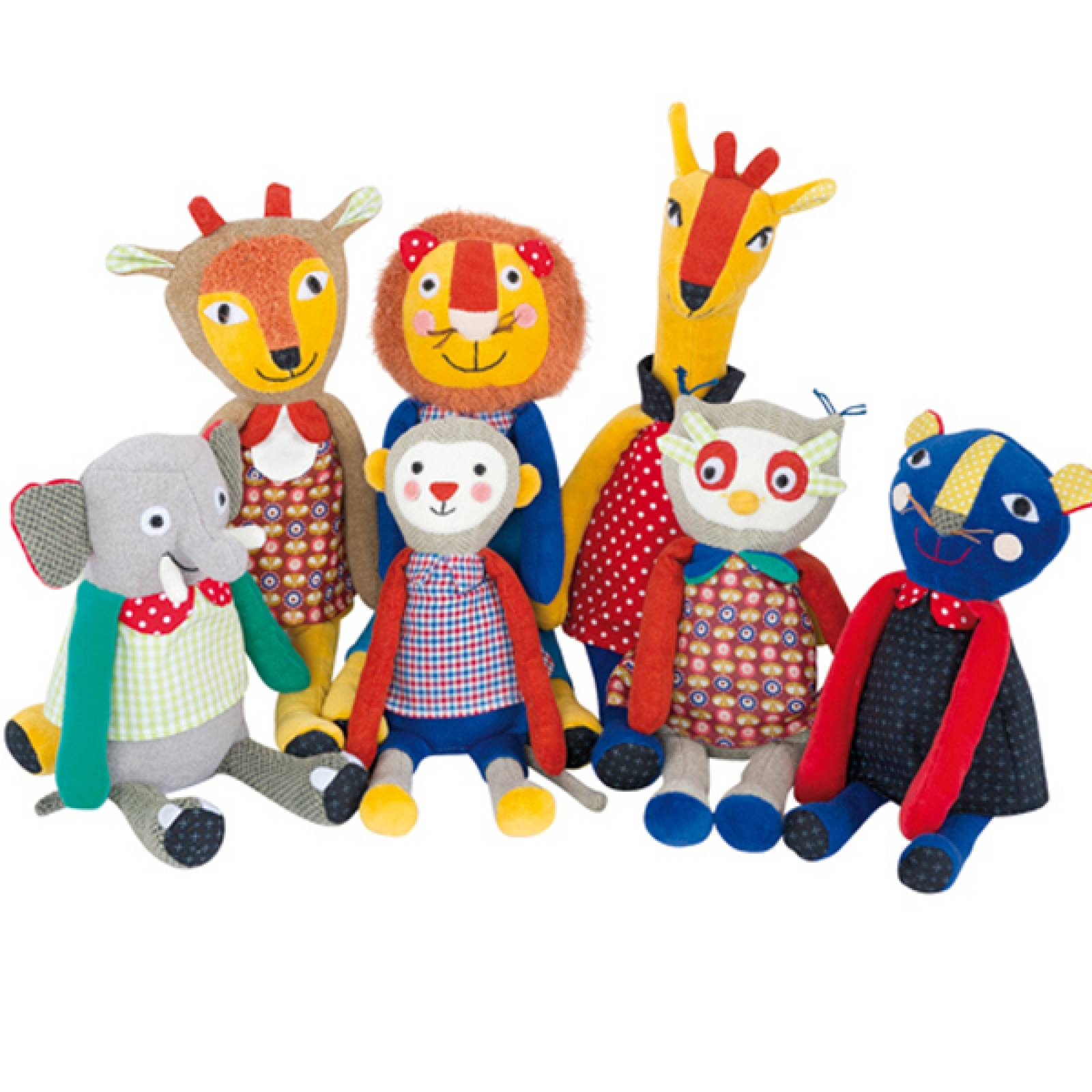 Les Popipop Soft Toys Assorted Animals By Moulin Roty