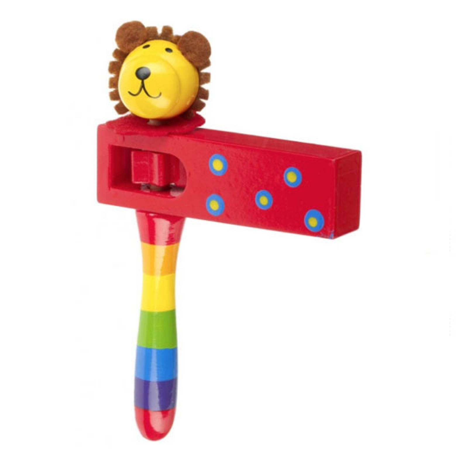 Lion - Wooden Painted Turning Rattle Clacker 3+