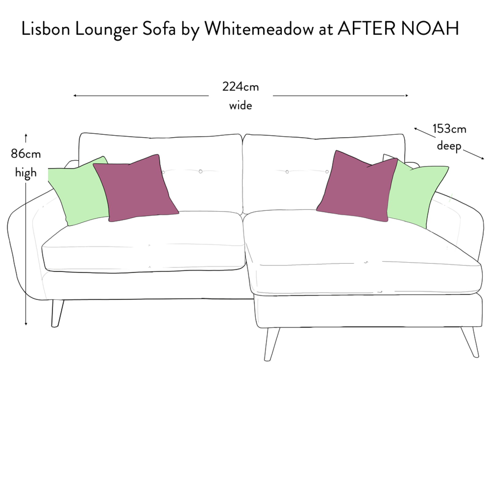 Lisbon Lounger Sofa by Whitemeadow - Fabric Grade B thumbnails