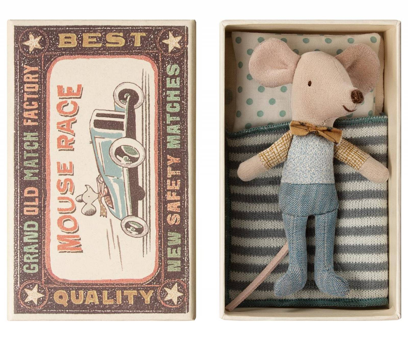 Little Brother Bow Tie Mouse In Matchbox By Maileg thumbnails