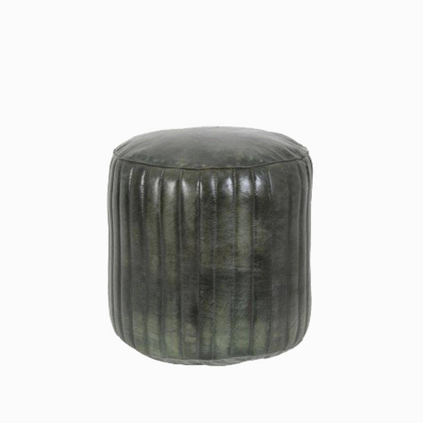 Luko Green Leather Ribbed Pouf thumbnails