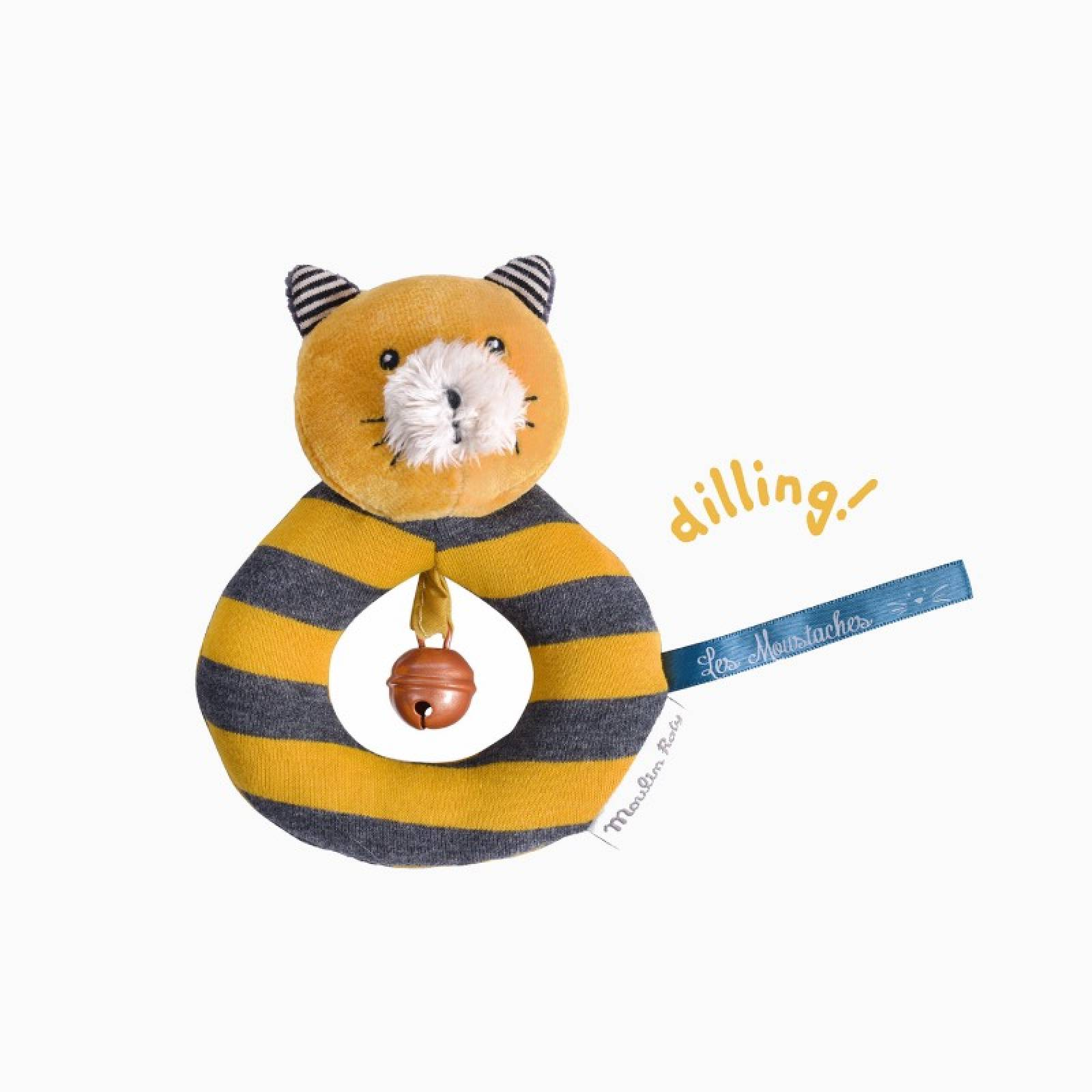 Lulu The Cat Yellow Ring Rattle Soft Toy