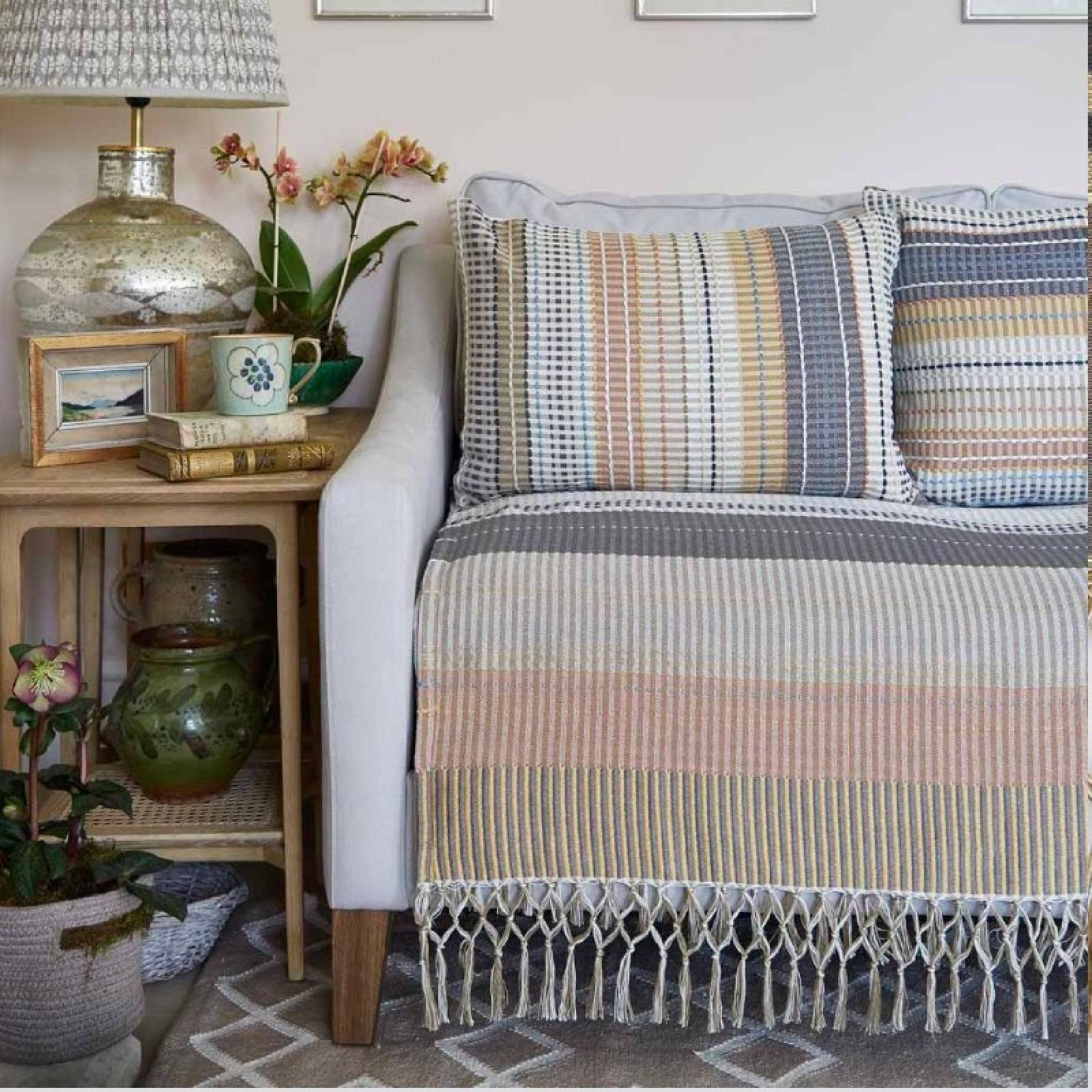 Madras Gold Check Throw Made From Recycled Bottles thumbnails