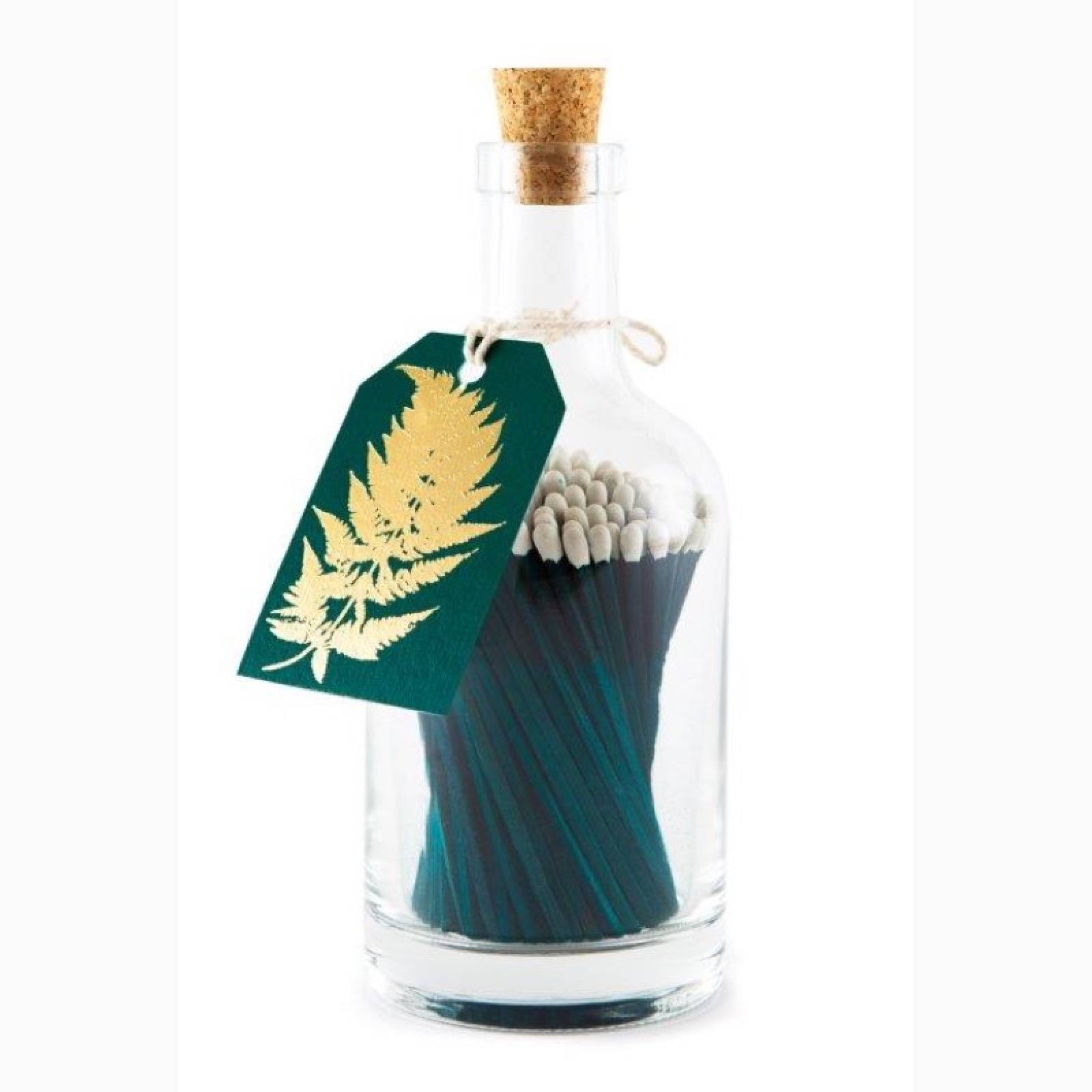 Matches In Glass Bottle - Gold Fern