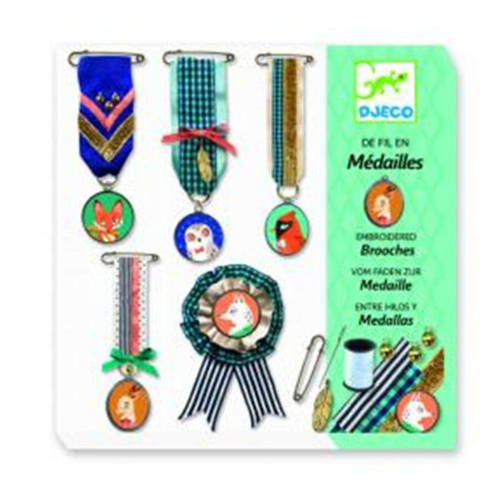 Sewing Embroidered Brooches Creative Kit By Djeco 7-13yrs
